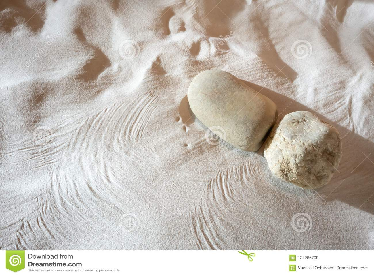 Natural Sand And Stone Garden With Selective Focus
