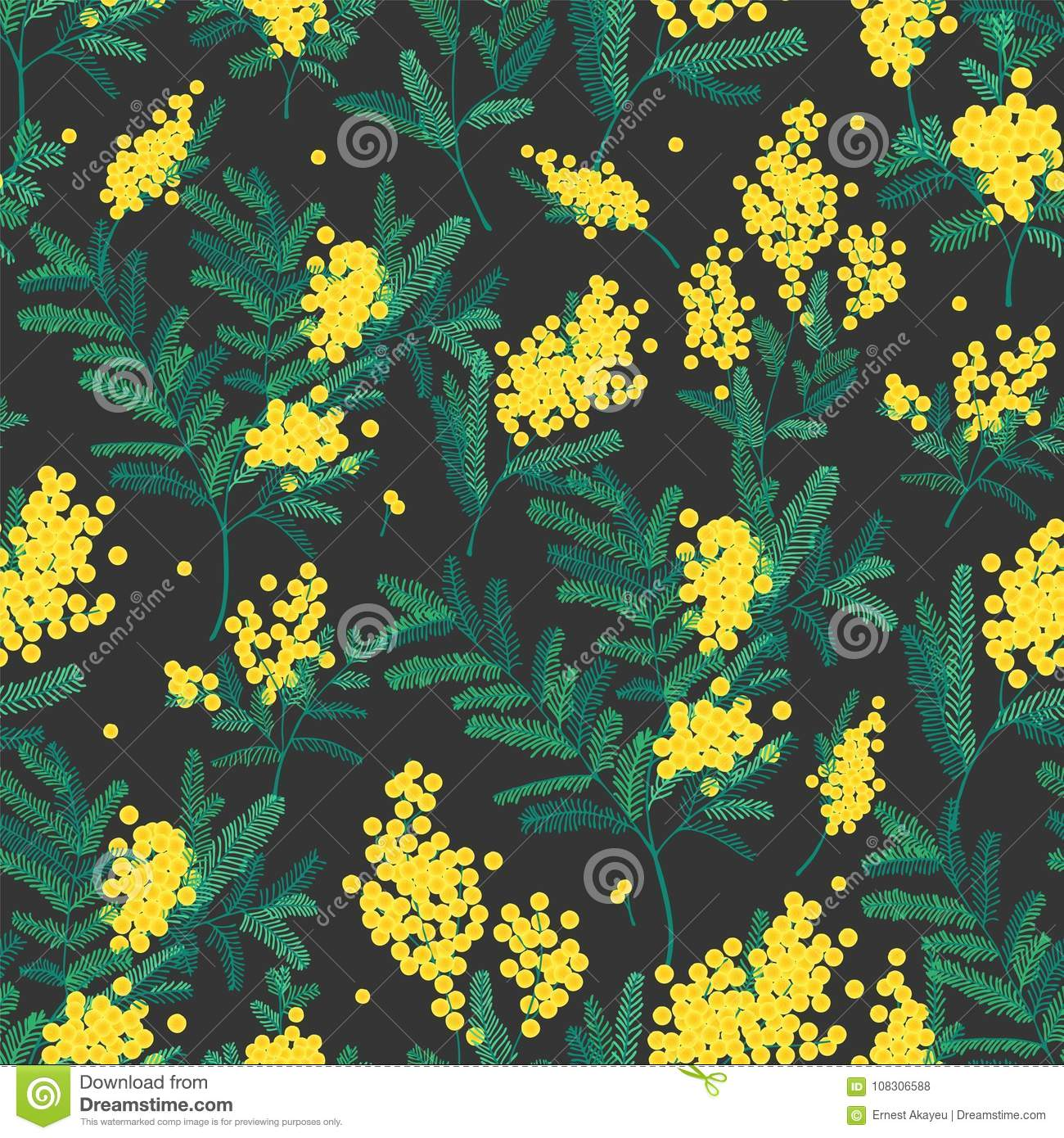 Natural Seamless Pattern With Gorgeous Blooming Mimosa Flowers On