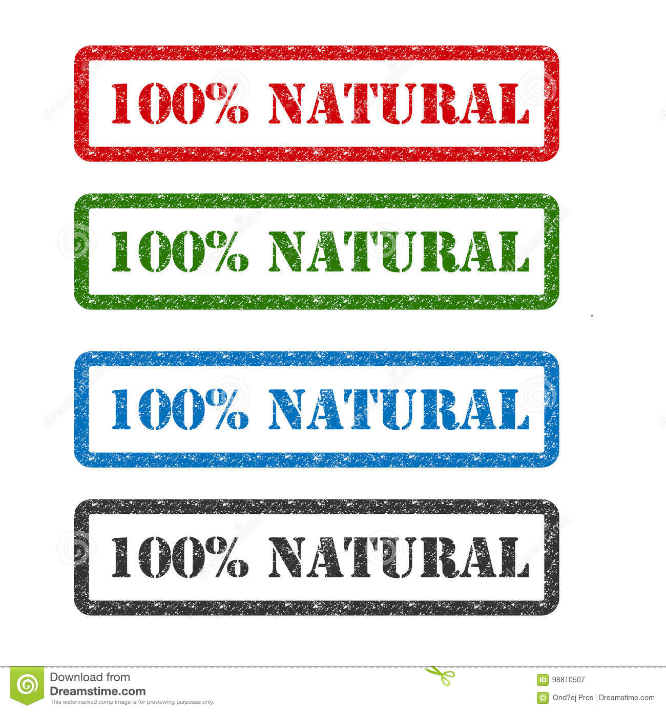 100   natural set rubber stamp isolated on background
