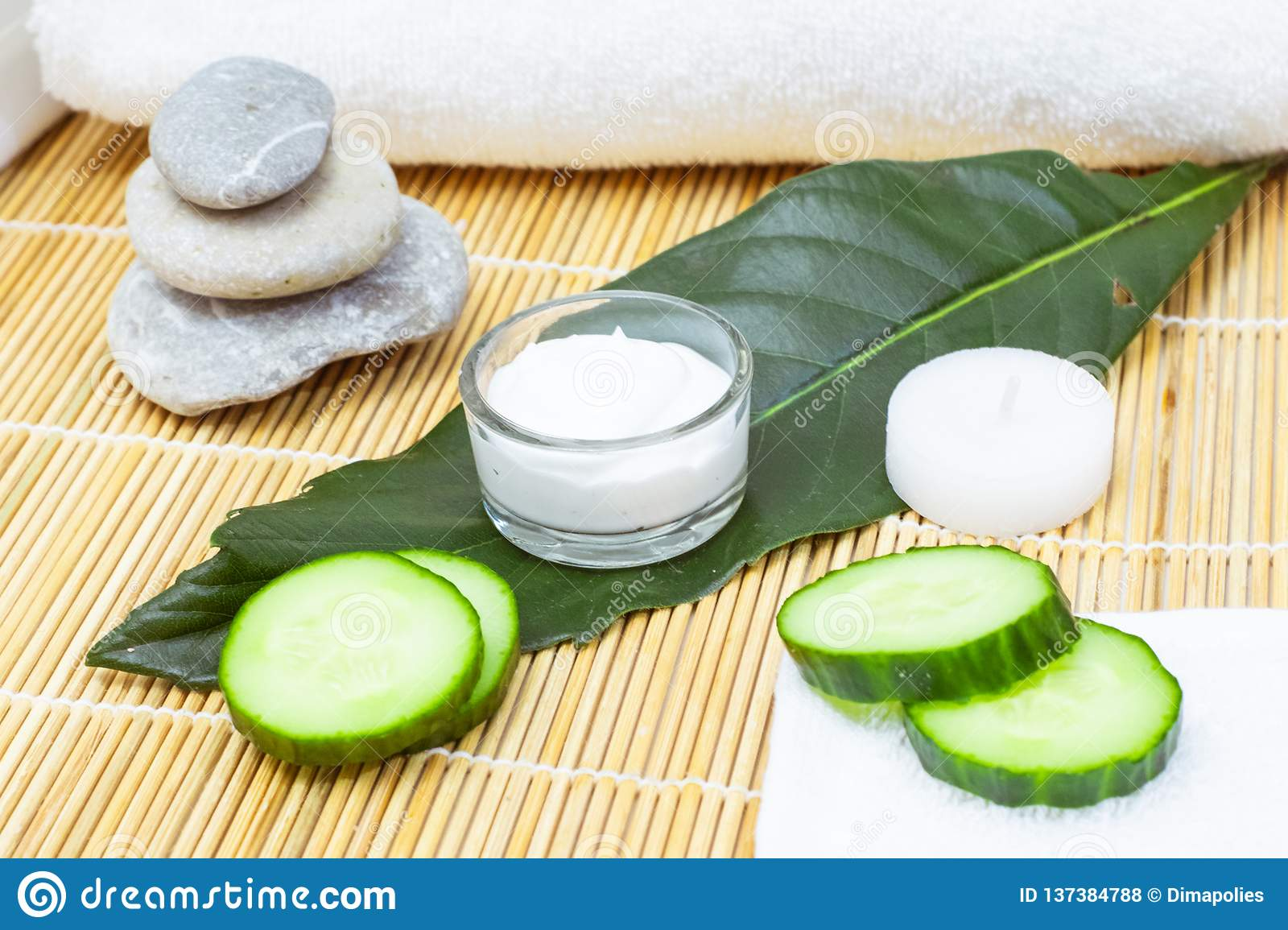 Natural Skin Care Products  View Ingredients On Table Concept Of The