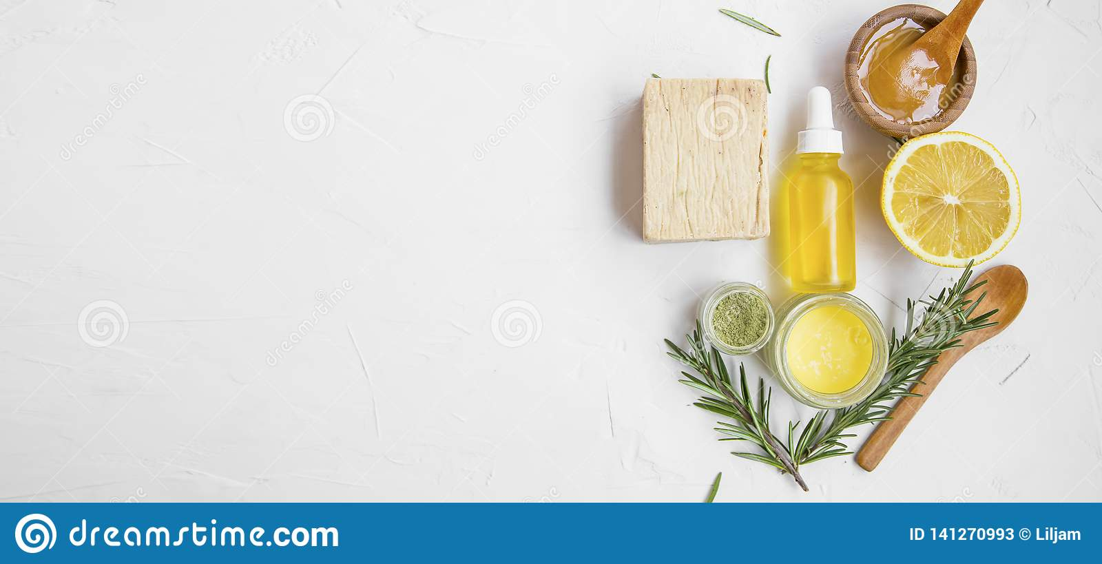 Natural Skincare Ingredients With Manuka Honey Lemon Essential Oil Clay Balm Rosemary Herbs And Natural Soap With Copy Space Stock Image Image Of Lotion Beauty 141270993