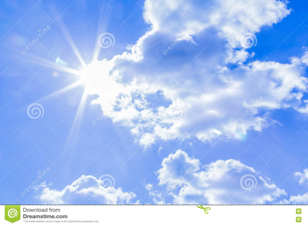 Natural sky background and radiating rays in a blue sky with clouds. That suitable for background, backdrop, wallpaper, display an