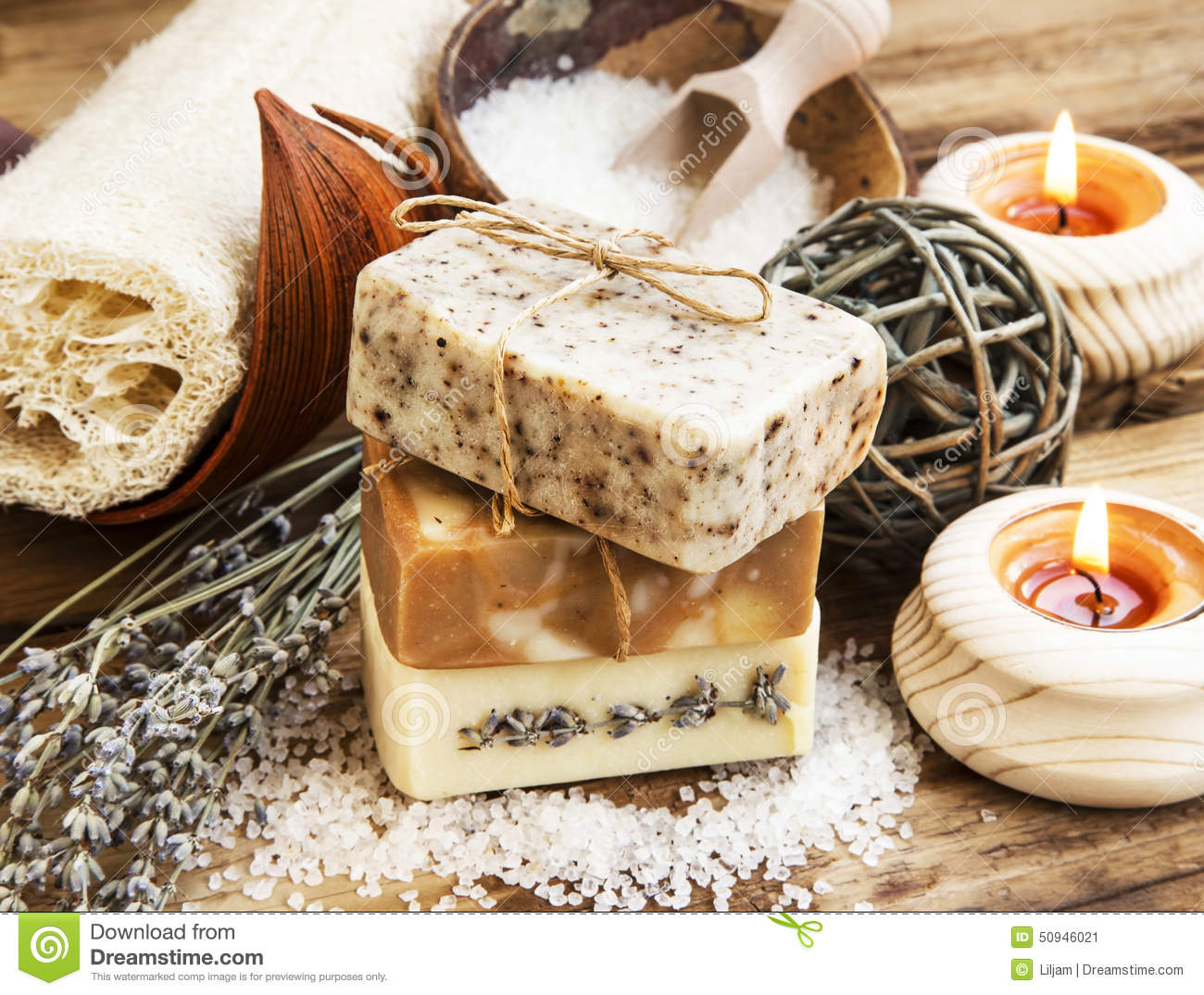 Natural soap homemade spa setting with bodycare products for Homemade products to save money