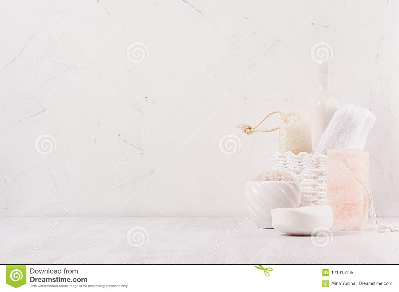 Natural Spa White And Pink Cosmetics Products And Bath Accessories ...