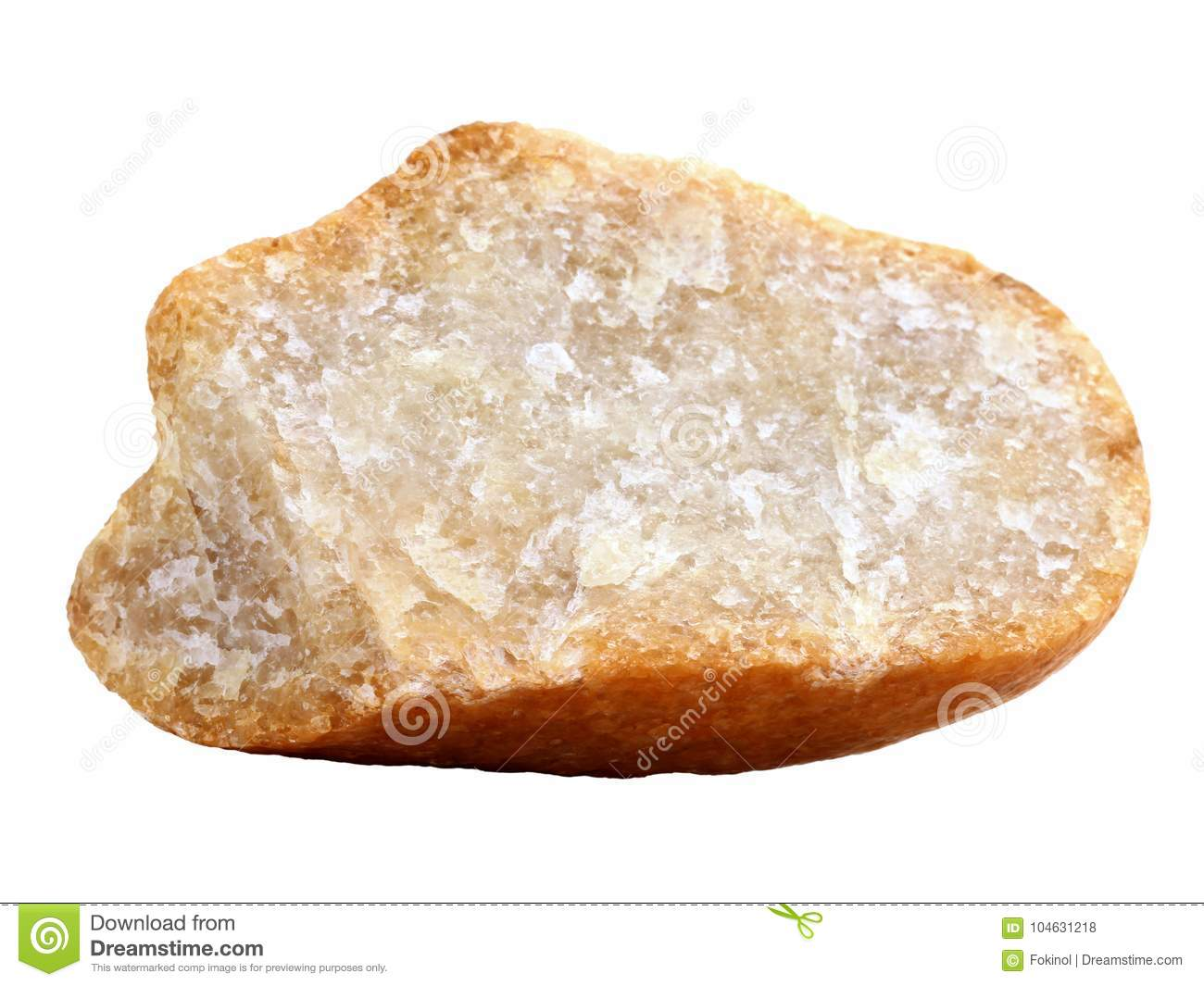 Natural sample of crystalline quartzite rock on white background