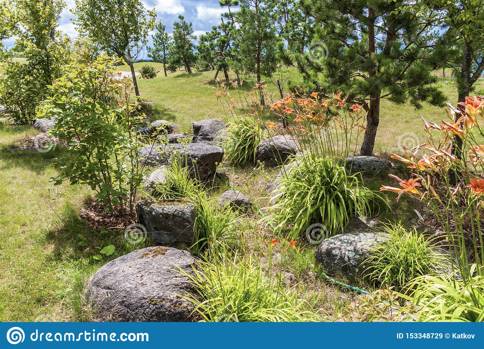 Natural Stone In Landscape Design Stock Image Image Of Landscape Grass 153348729