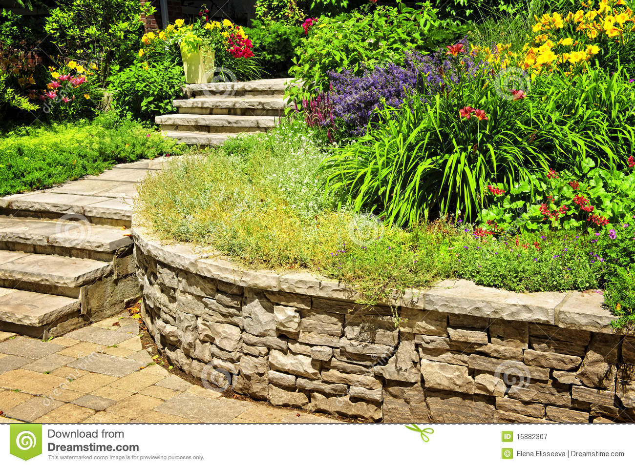 Landscaping Natural Stone : Natural stone landscaping stock image of gardening