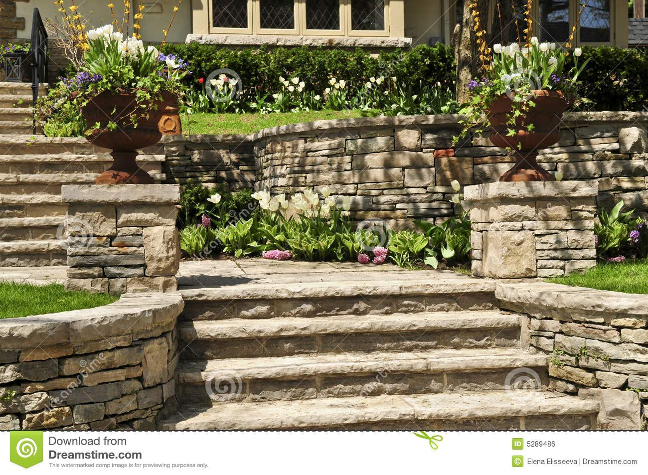 Natural stone landscaping stock photo image of for Natural rock landscaping