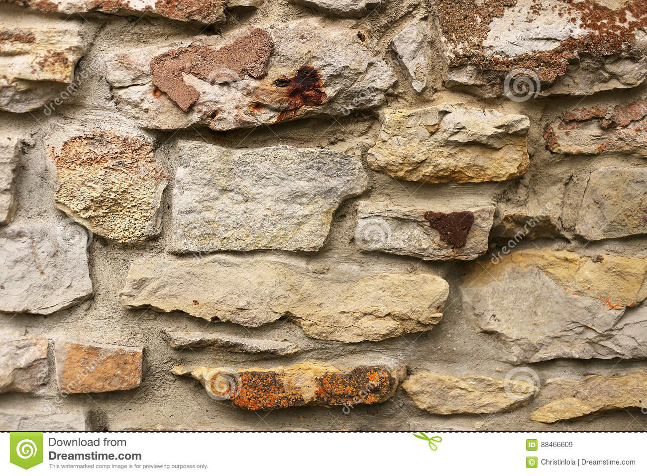 Natural Stone Siding Background On Old House Exterior Wall Stock