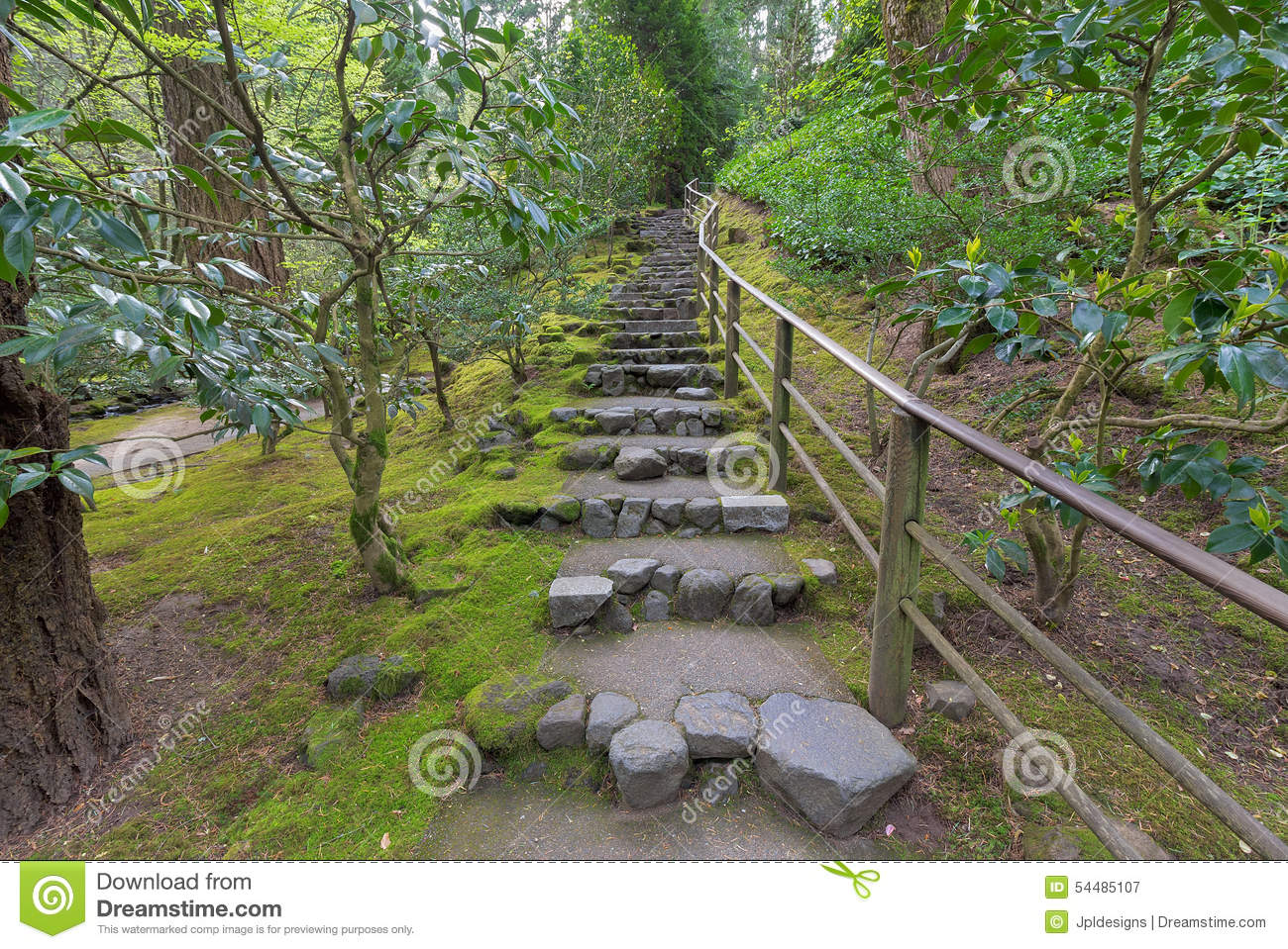 Natural Stone Steps In Japanese Garden Stock Image Image