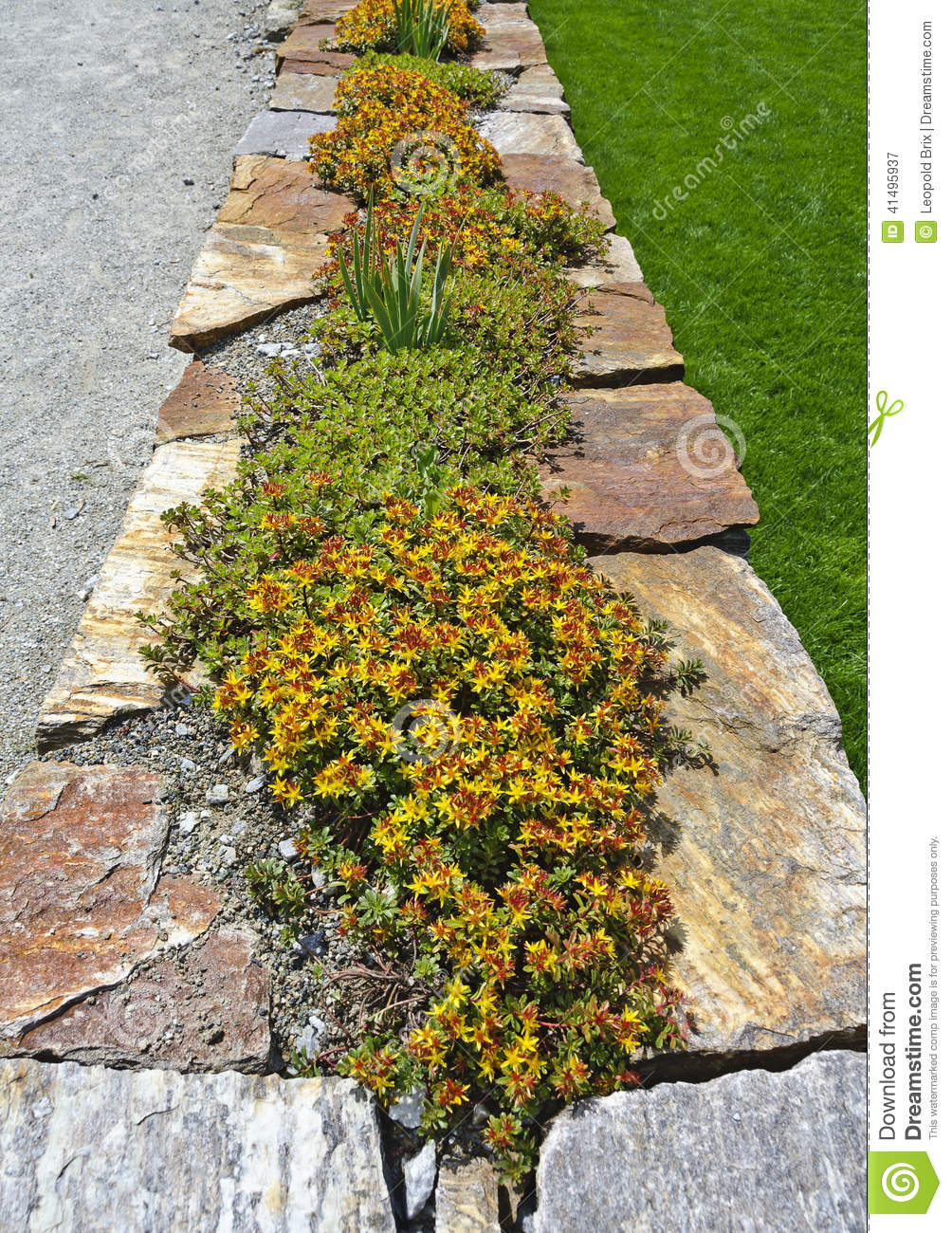 Red Natural Stones : Natural stone wall with plants stock image