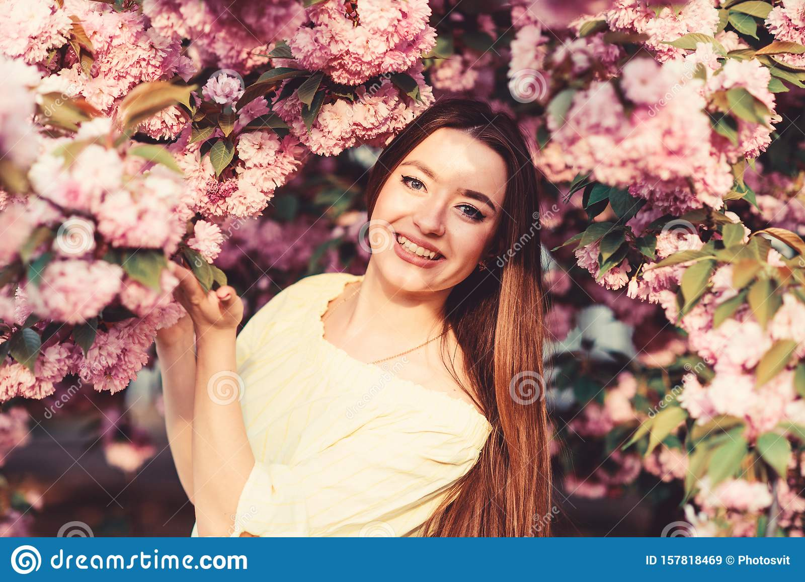 Natural summer beauty. skincare and spa. Natural cosmetics for skin. woman in spring flower bloom. blossom smell