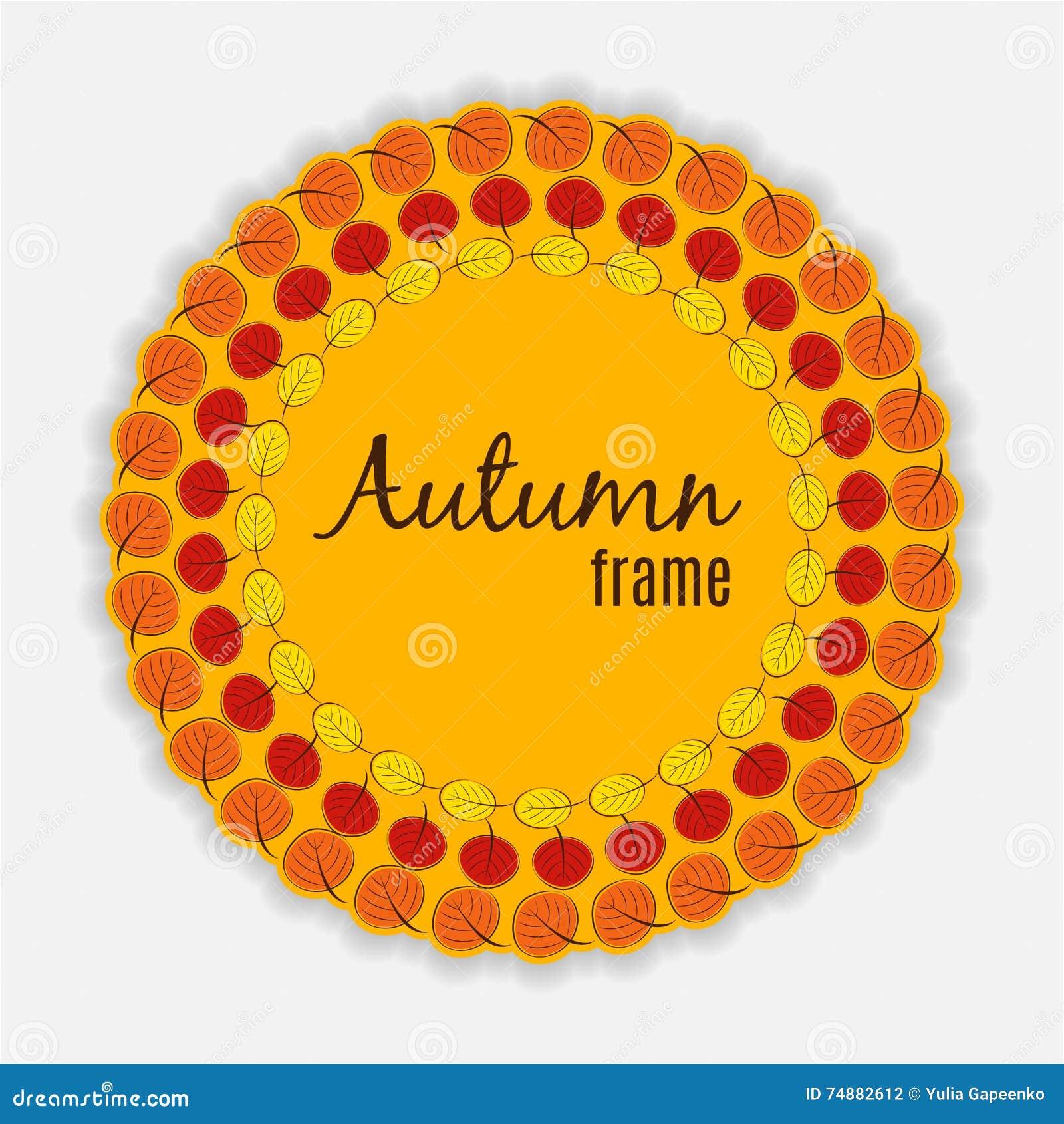 Natural Sunny Autumn Leaves Frame Background Vector Illustration