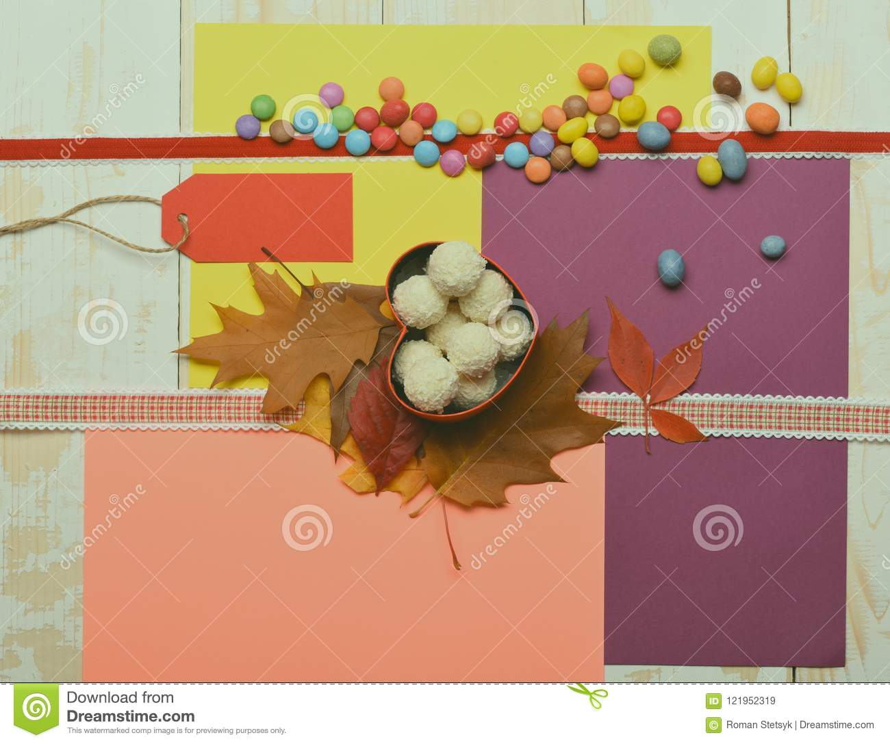 Natural sweets, paper tag or blank price list.