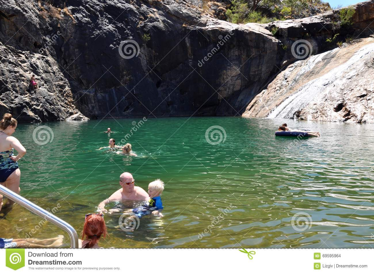 Natural Swimming Hole Serpentine Falls Editorial Stock Image Image 69595964