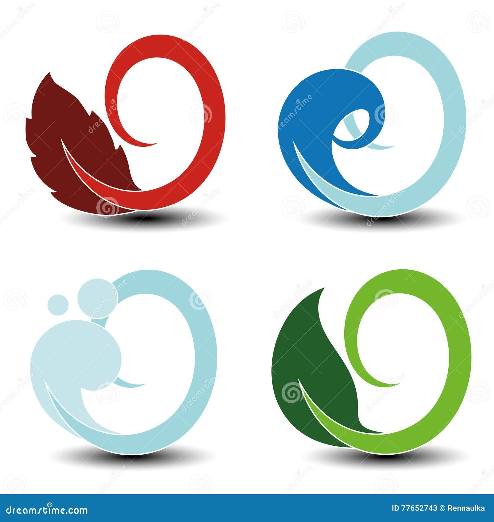 Natural Symbols Fire Air Water Earth Nature Circular Elements