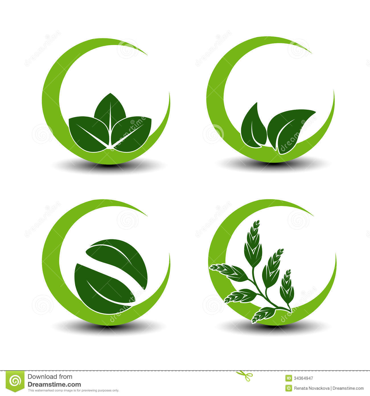 Natural Symbols With Leaf - Circular Nature Icon Royalty Free Stock ...