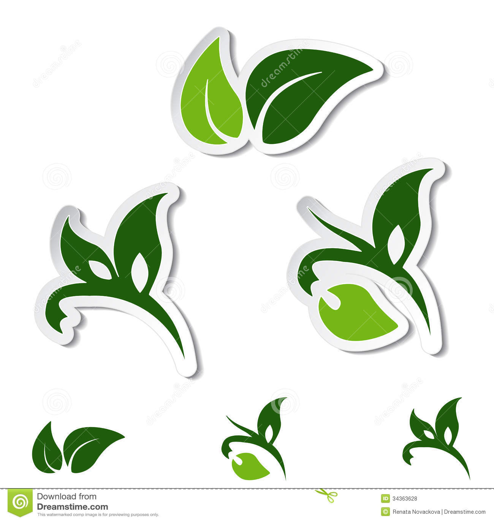Natural Symbols - Leaf, Plant - Stickers Stock Vector ... Organic Leaf Symbol