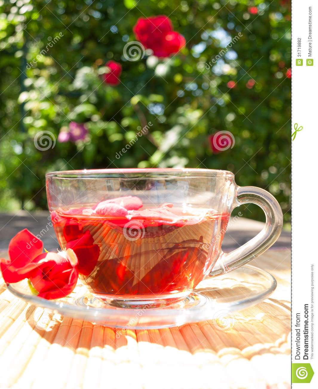 Natural Tea From Rose-petals On The Background Of Rose ...