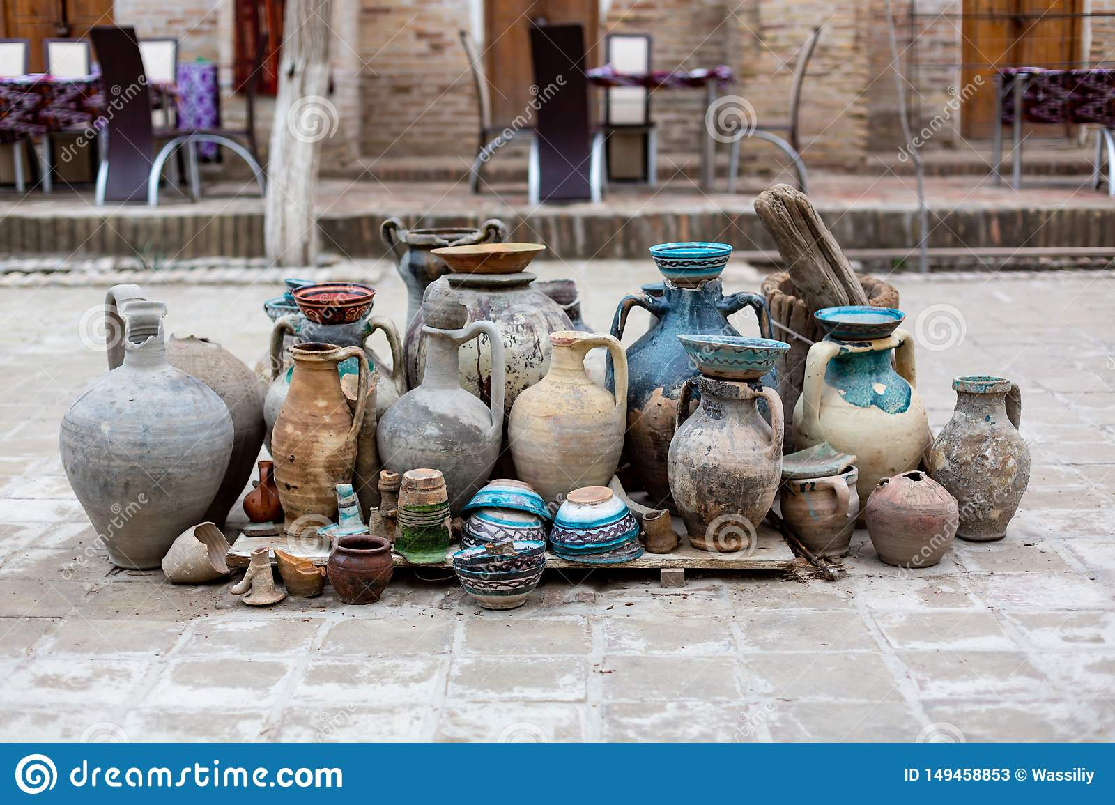 Natural Traditional Clay Pottery Beautiful Old Kitchen Appliances Dishes Jugs Vases Pots Mugs The Background Stock Image Image Of Beverage Handmade 149458853