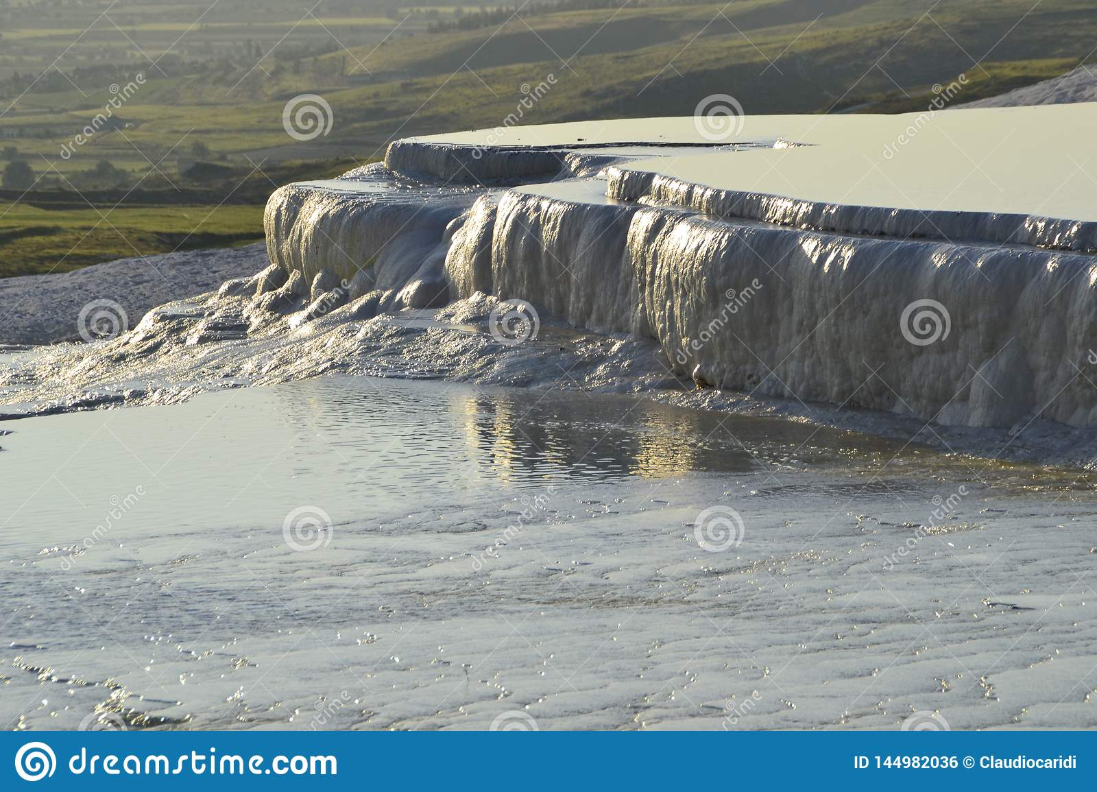 Natural travertine pools in Pamukkale, Turkey
