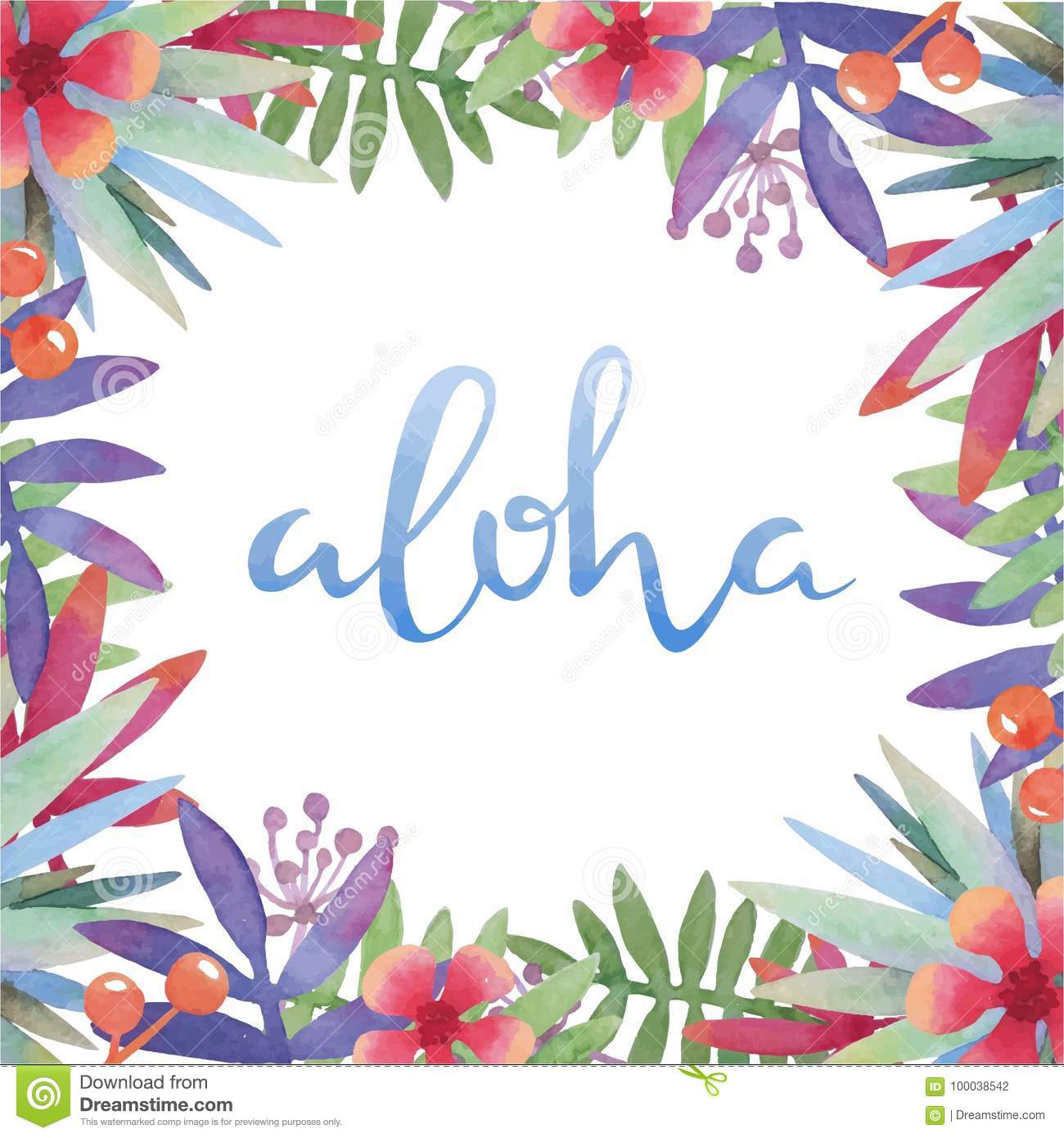 Watercolor Botanical Tropical Frame With Hawaii Greeting Stock ...