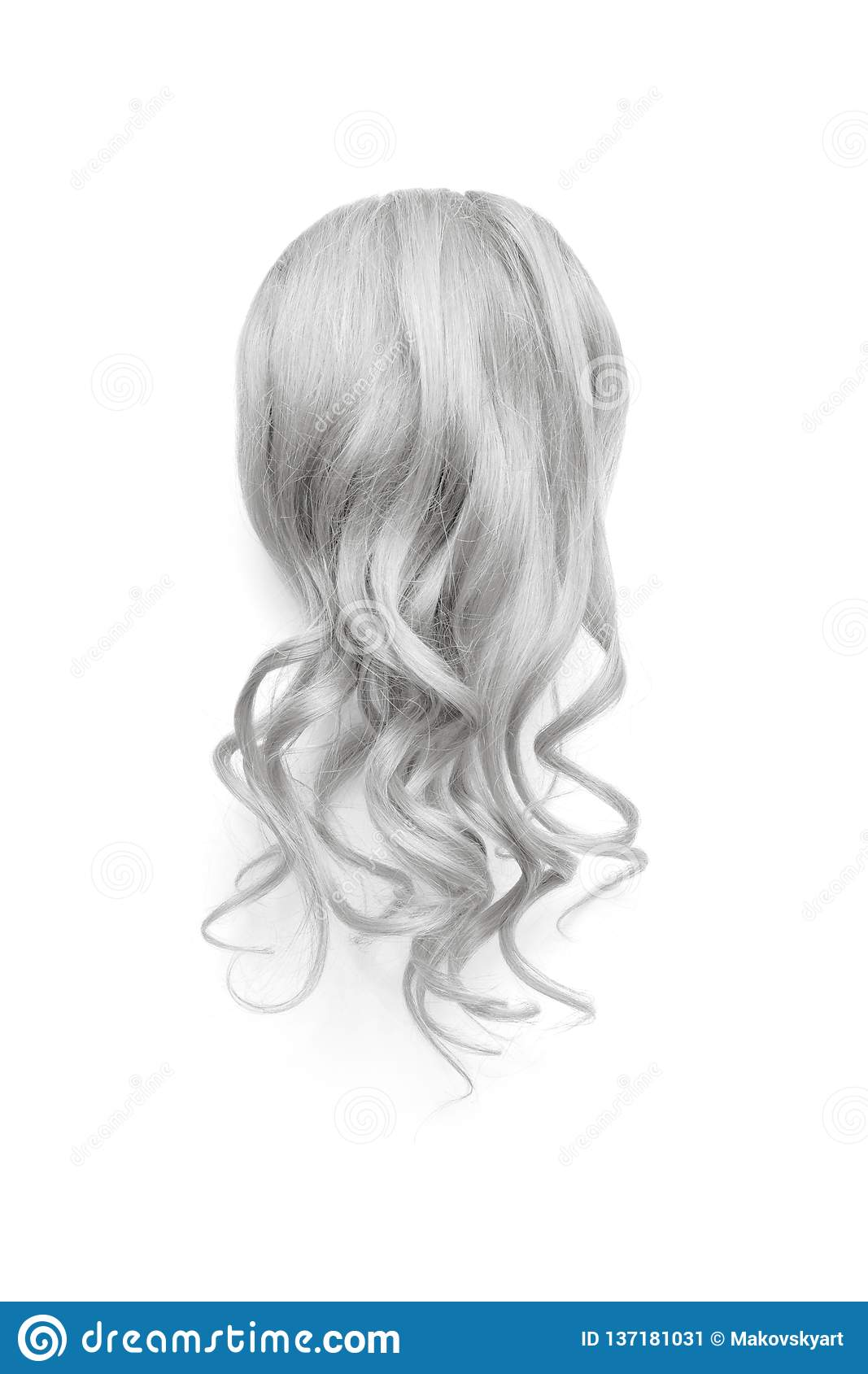 Natural Wavy Gray Hair On White Background. Woman`s Head Back View ...