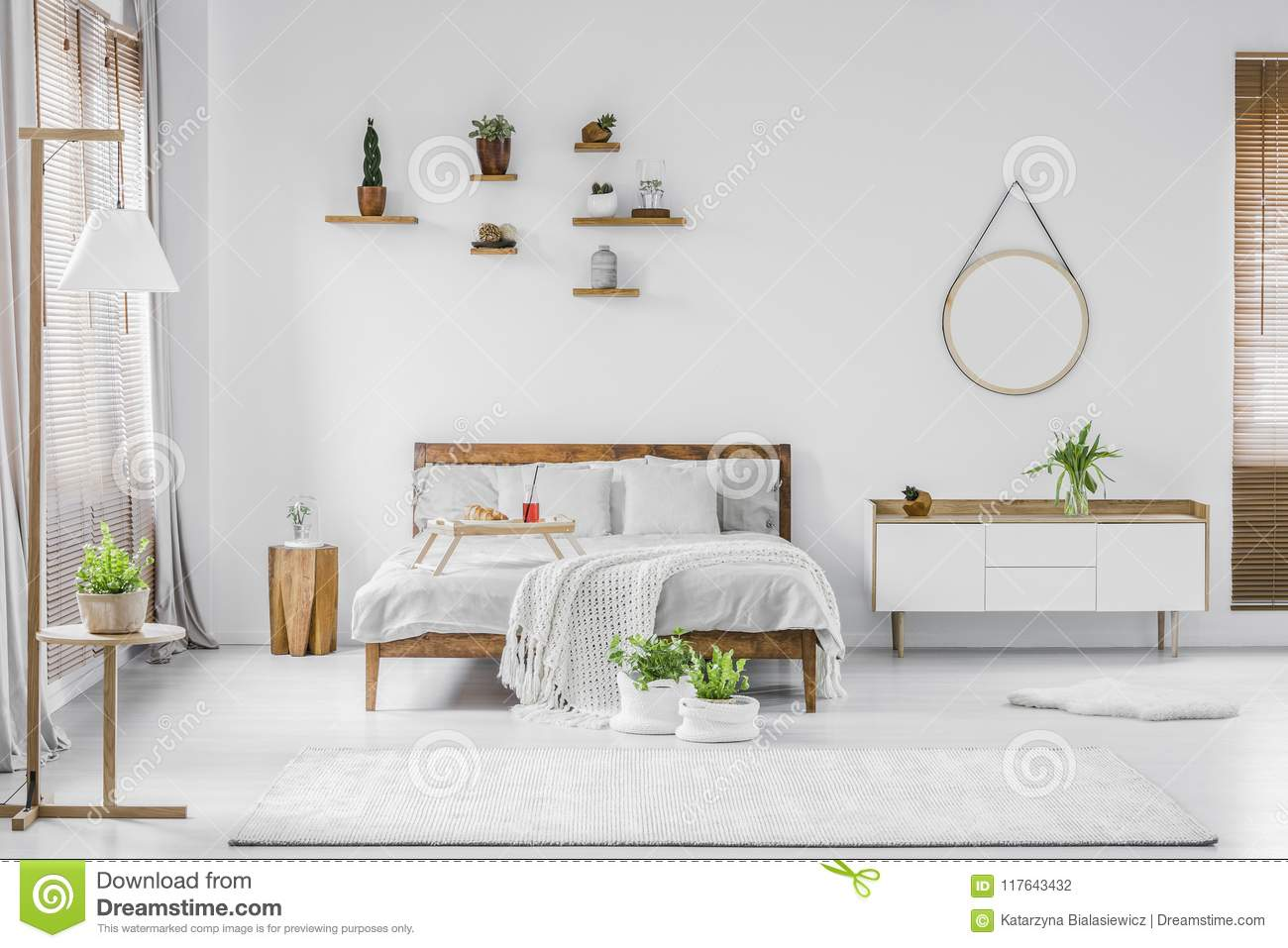 . Natural White Bedroom Interior Stock Photo   Image of lamp  simple