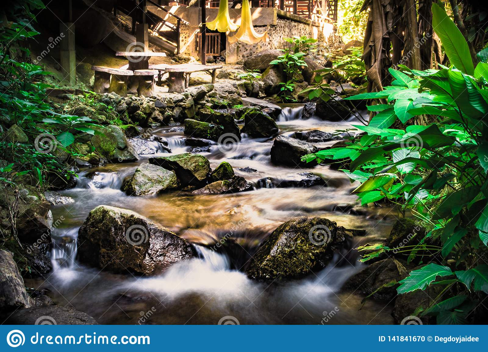 Natural winter waterfalls, river views, lush forest parks, background is wet with rocks.