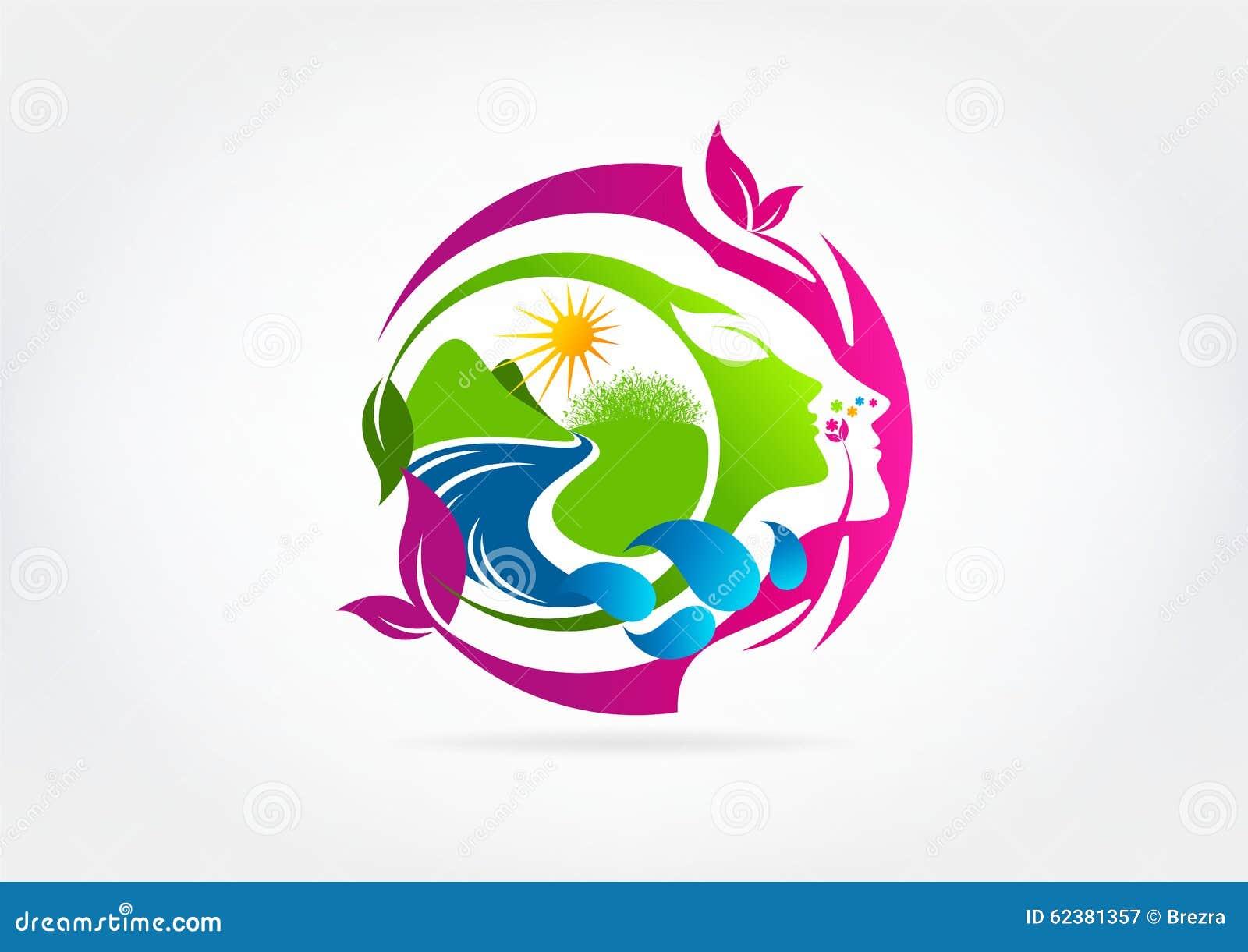 natural woman beauty logo design stock vector image