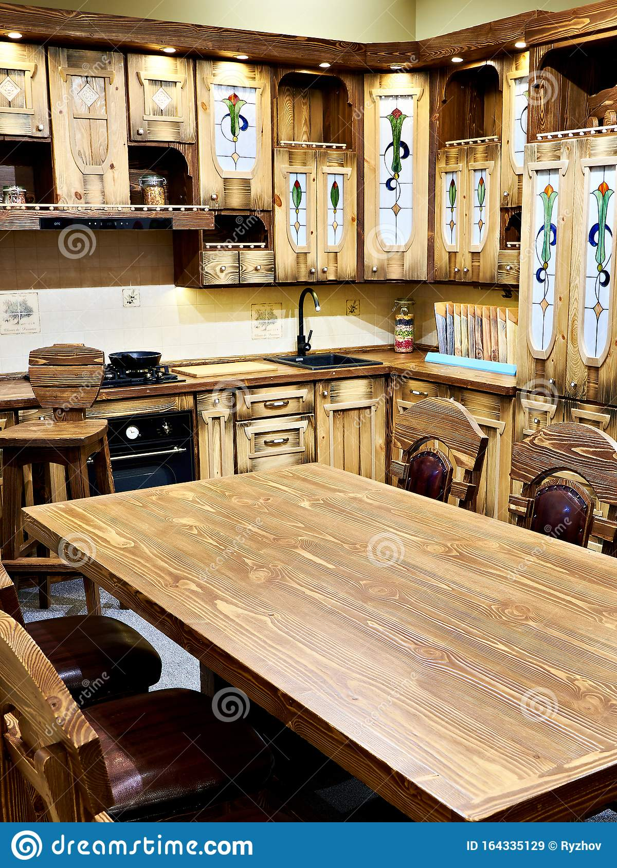 Natural Wood Kitchen Furniture Vintage Stock Image Image Of Texture Counter 164335129