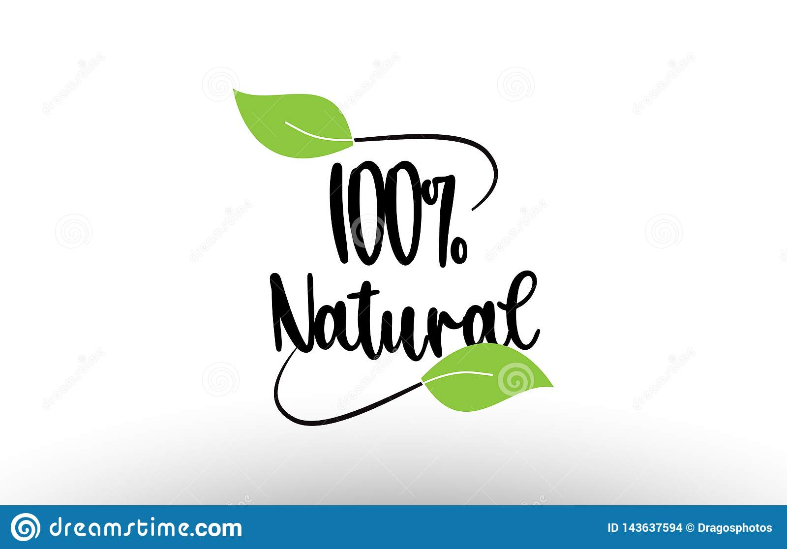 100  Natural word text with green leaf logo icon design