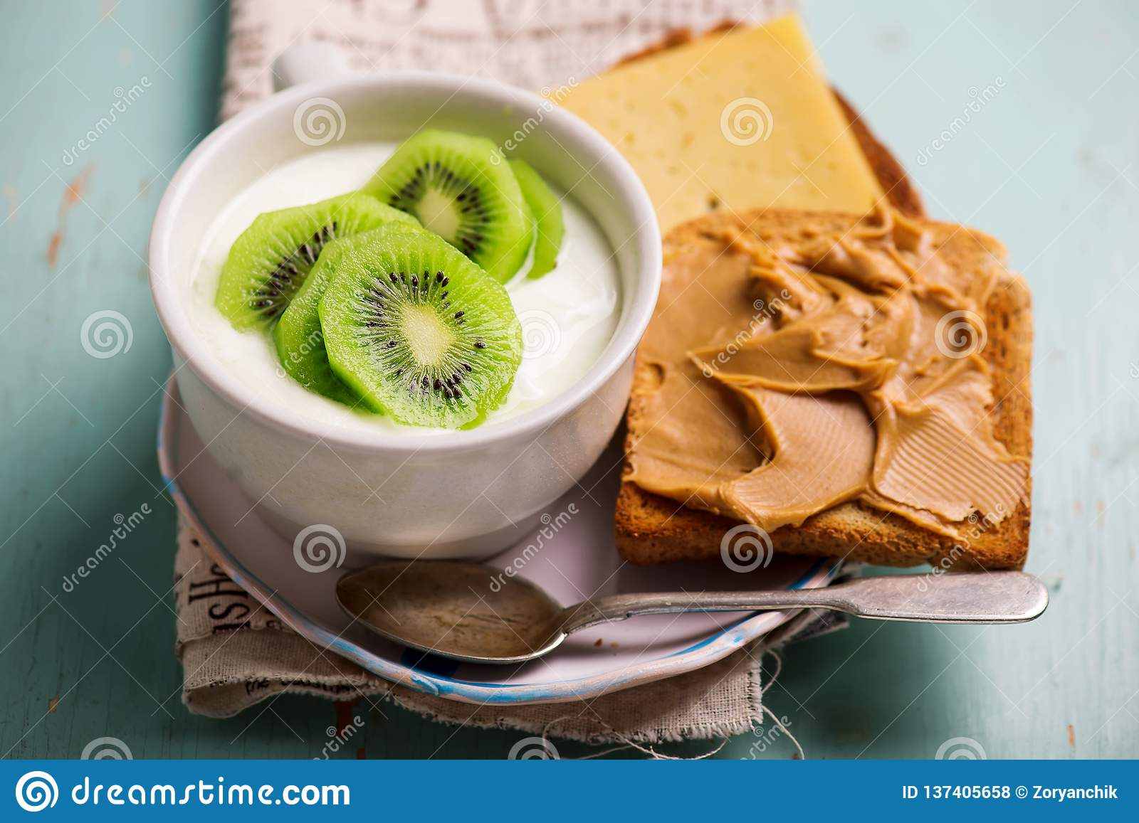 Natural Yoghurt With Kiwi And Peanut Butter Toast Healthy Breakfast Stock Photo Image Of Cuisine Homemade 137405658