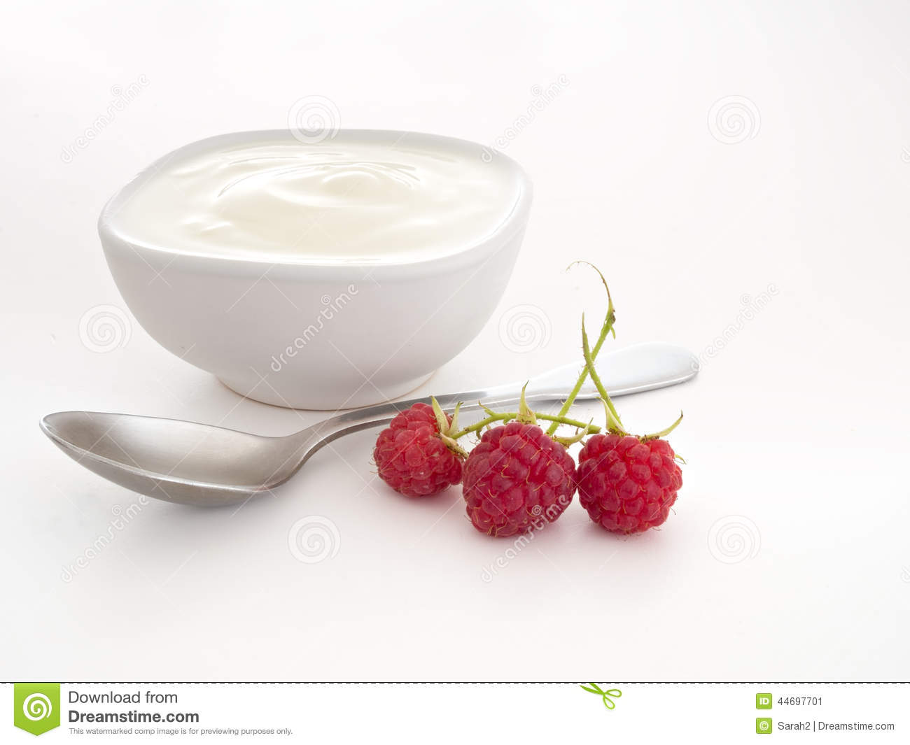 Natural Yogurt, Yoghurt With Raspberries And Spoon Over White. Stock ...