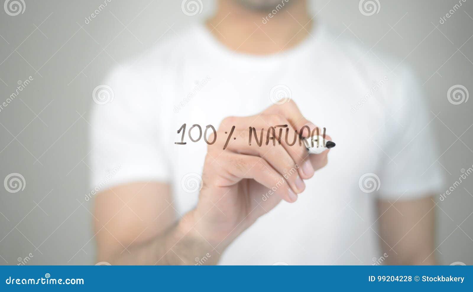 100  naturale, scrittura dell uomo sullo schermo trasparente