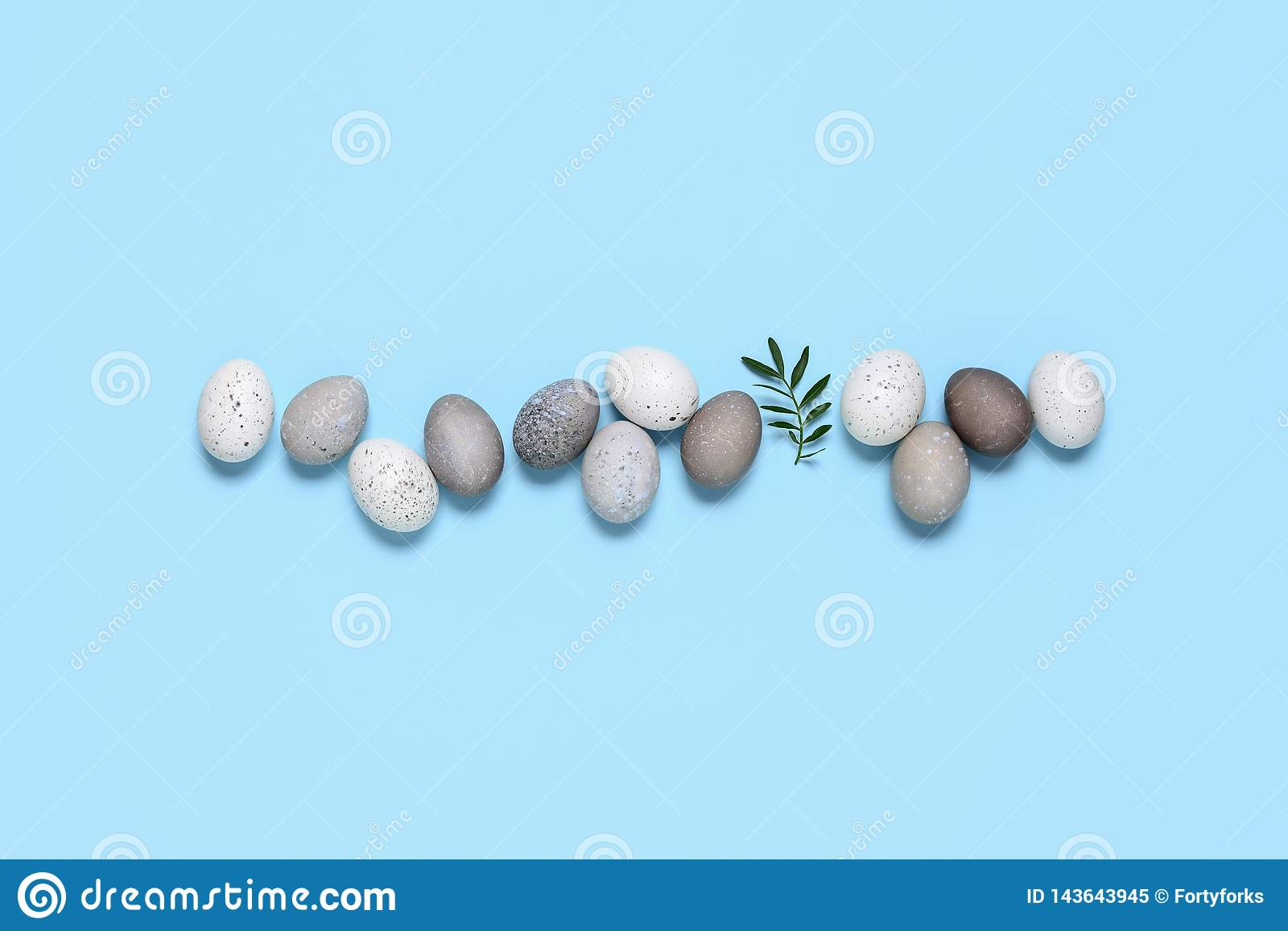 Naturally dyed Easter eggs put in line