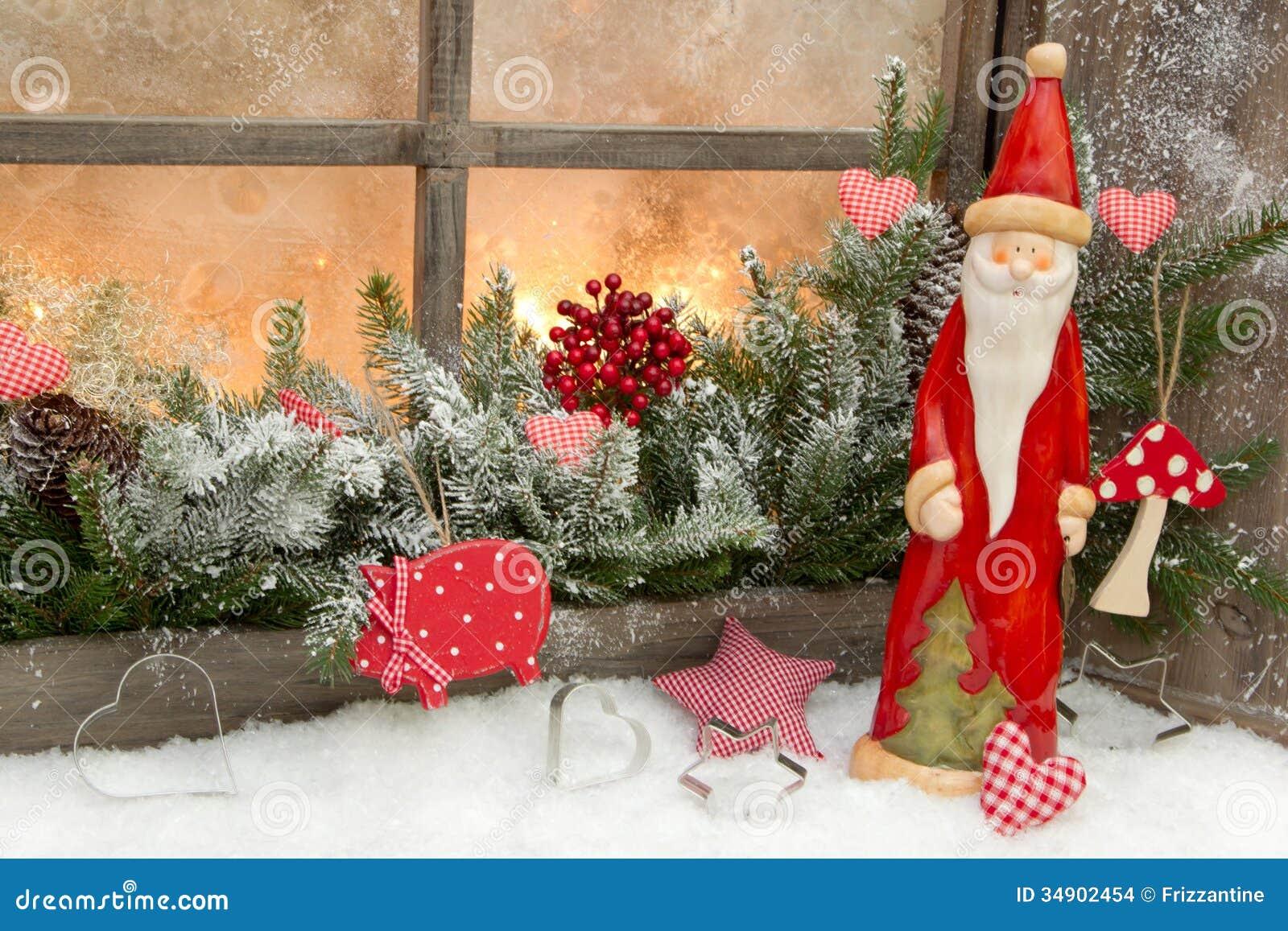 Naturalna Boże Narodzenie Dekoracja Z Santa Claus W