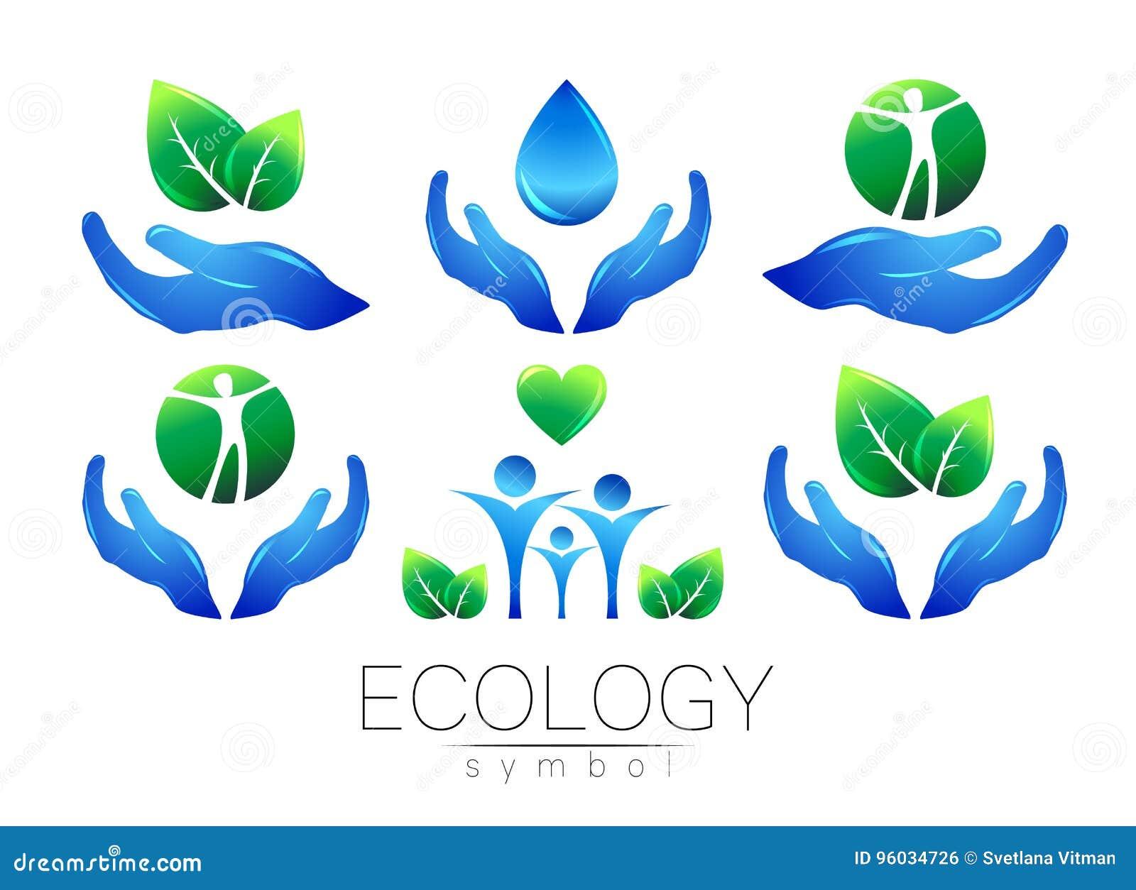 Naturalnego loga projekta wektorowy set Ręka liści peple na białym tle i woda Zieleni i błękita kolory Znak dla