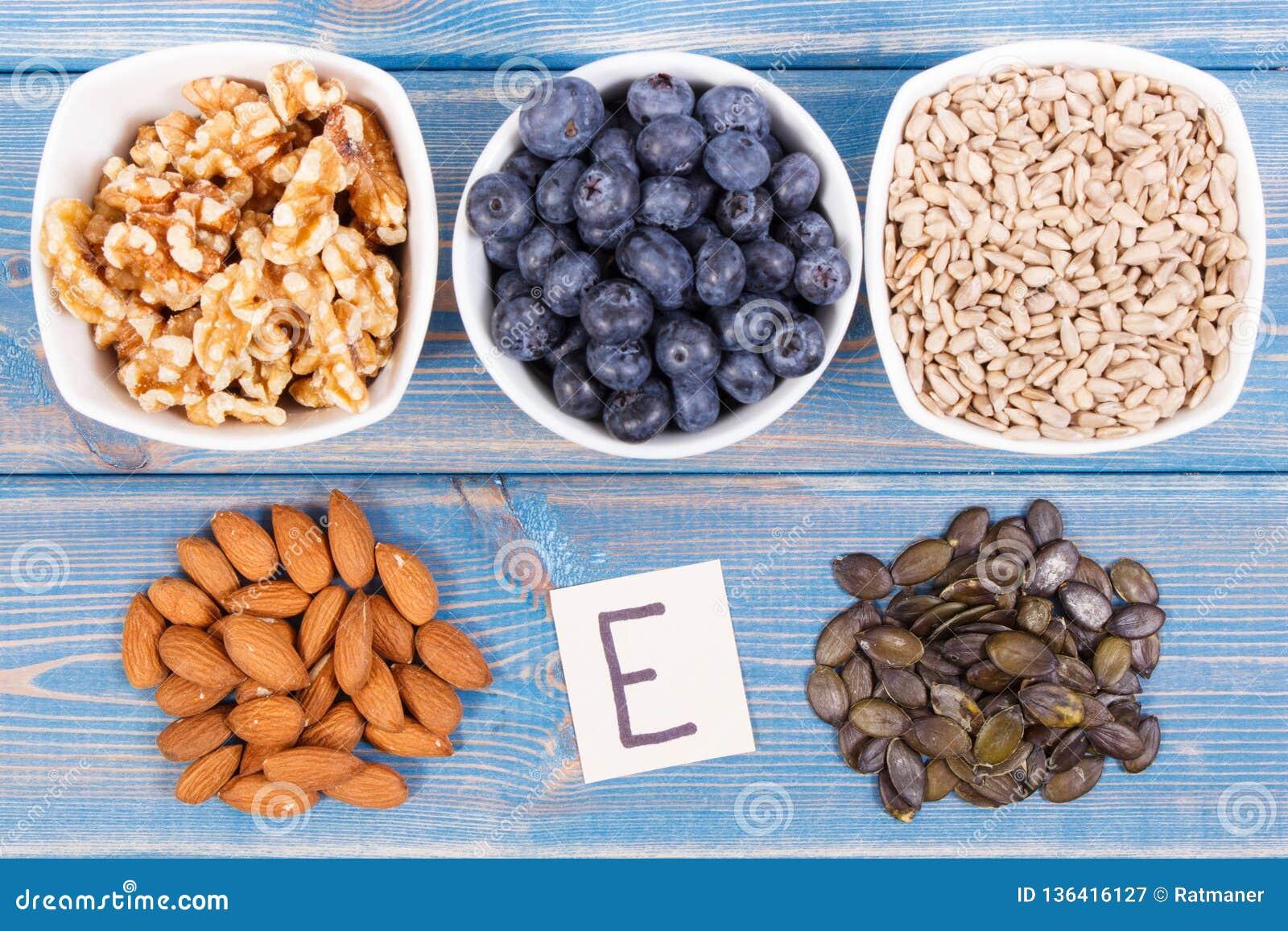 Naturalni produkty lub składniki jako źródło witamina E, kopaliny i żywienioniowy włókno,