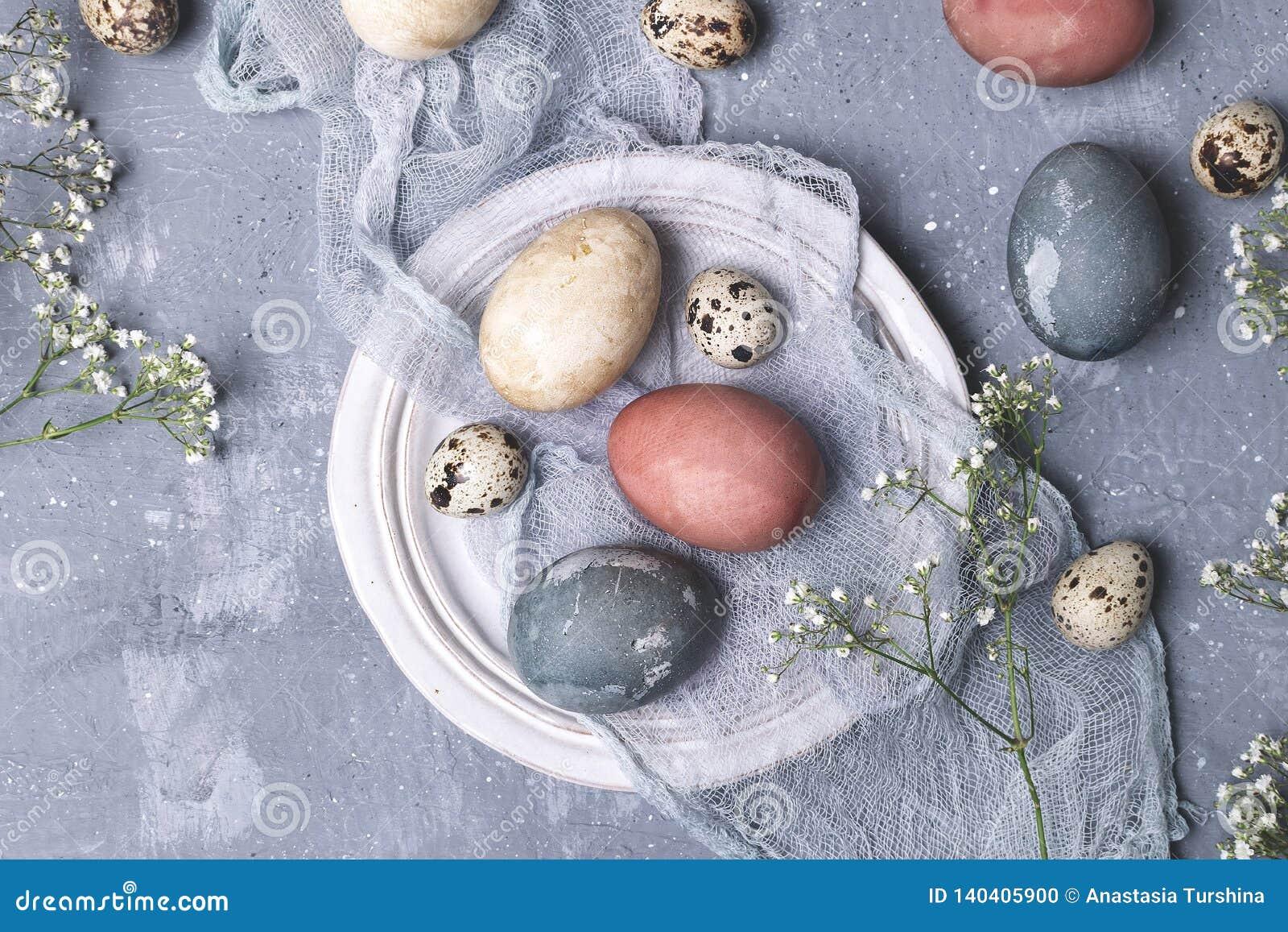 Naturalnie farbujący Easter jajka w kartonowym zbiorniku