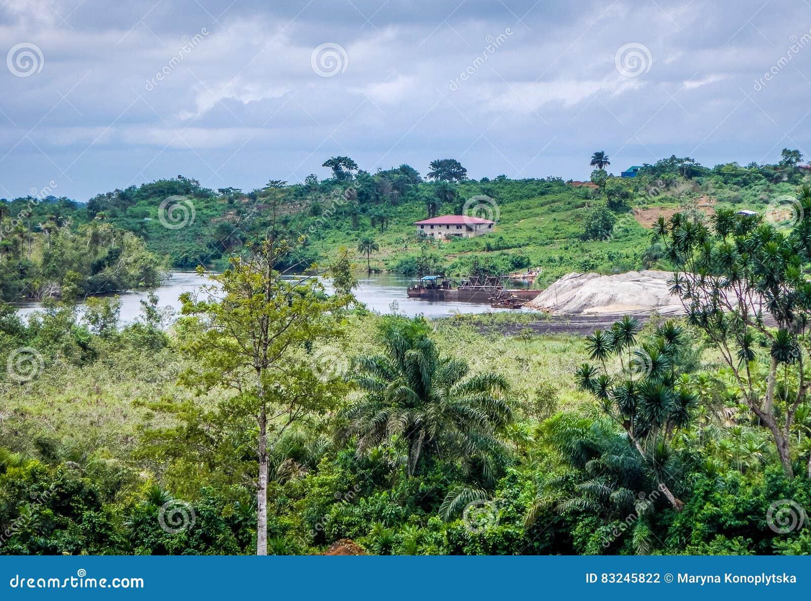 Naturalny krajobraz w Liberia, afryka zachodnia