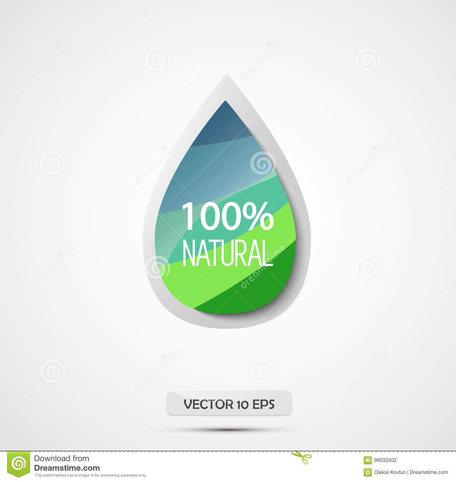 100 naturalny również zwrócić corel ilustracji wektora Błękita i zieleni wody kropla