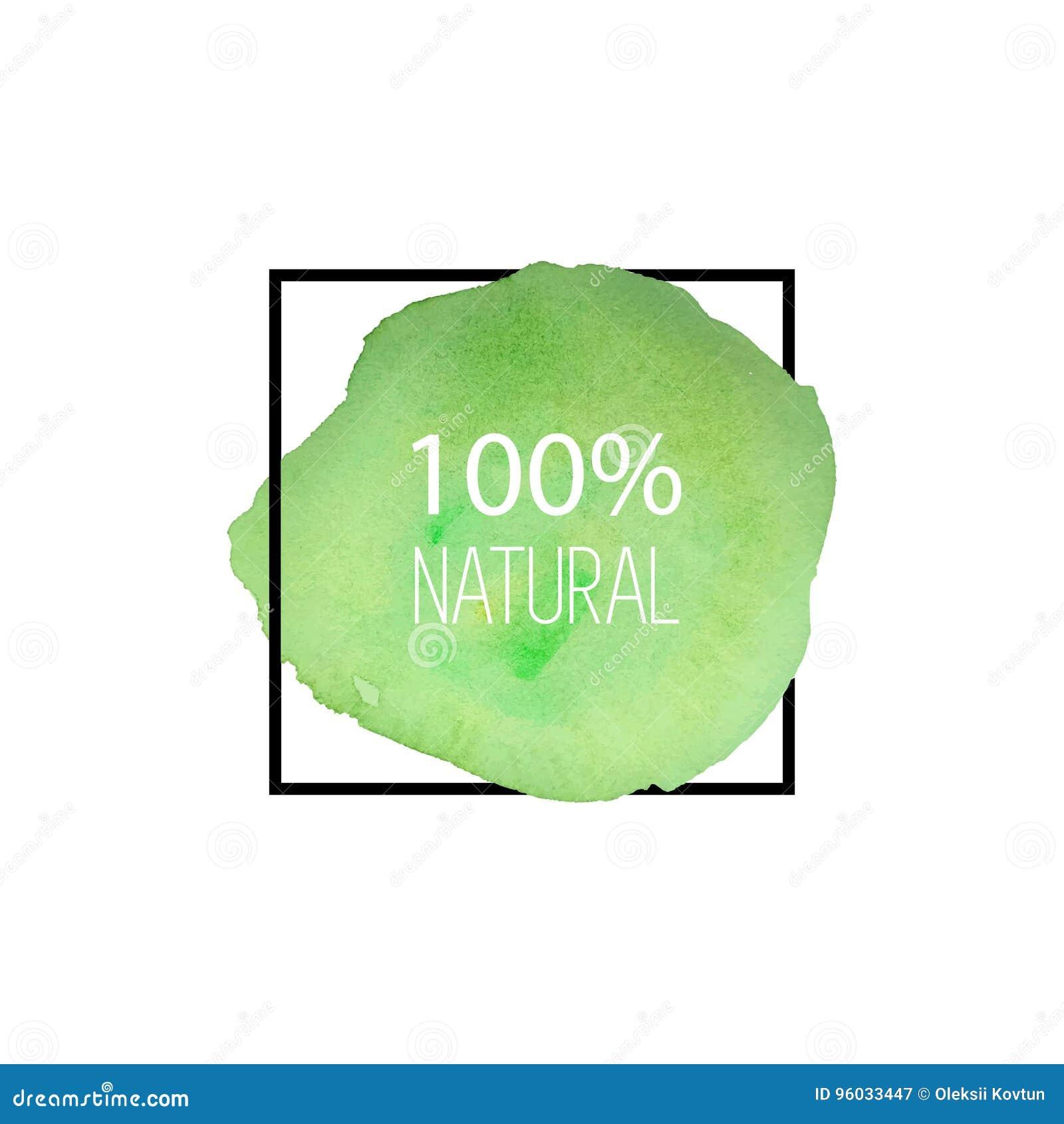 100 naturalny wektor Ręka rysujący akwarela logo jarosz zielony szczotkarski bang okrągły kształt
