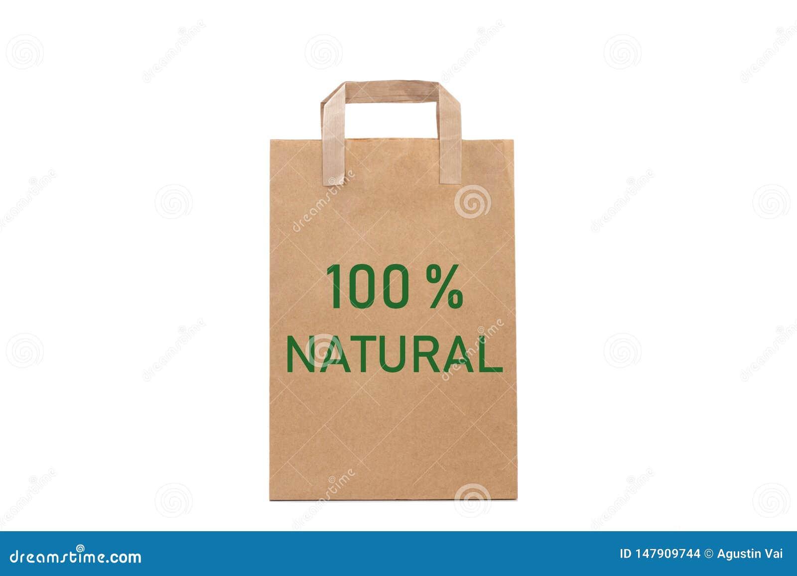 100  naturalnych słów pisze w papierowej torbie