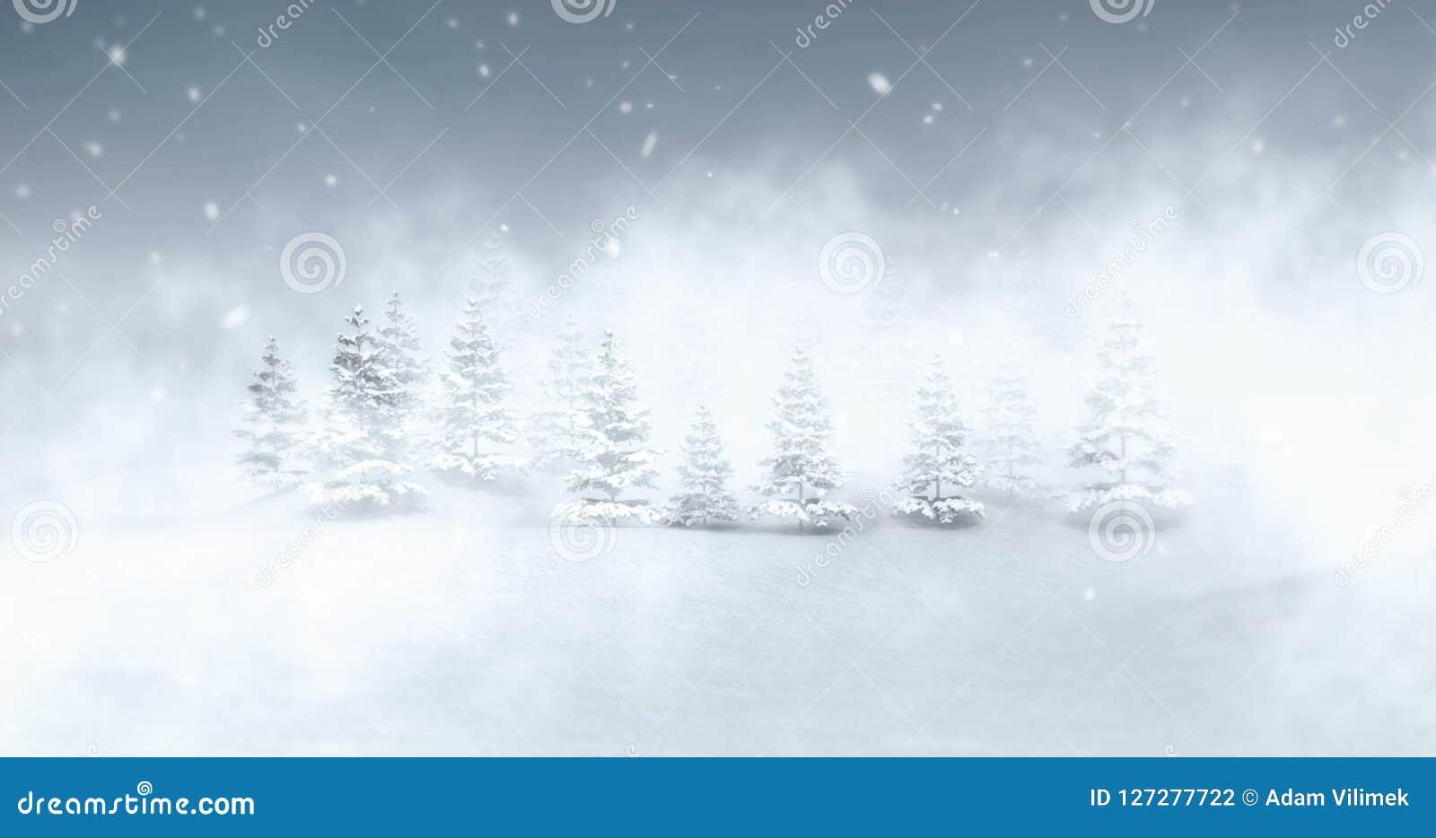 Winter Seasonal Landscape At Evening Snowfall And Fog Stock Footage