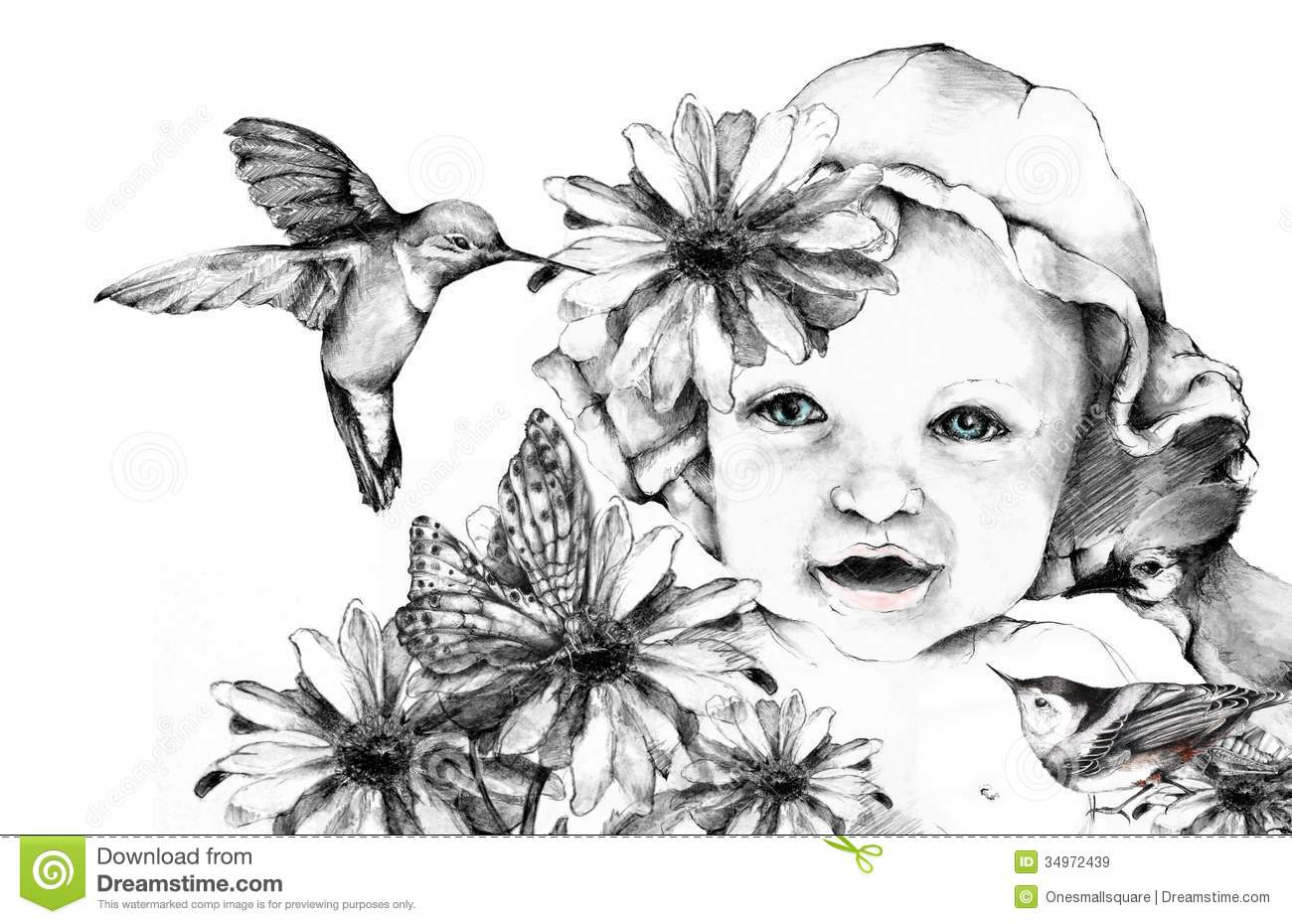 Nature Baby Stock Illustration Image Of Graphite Drawn