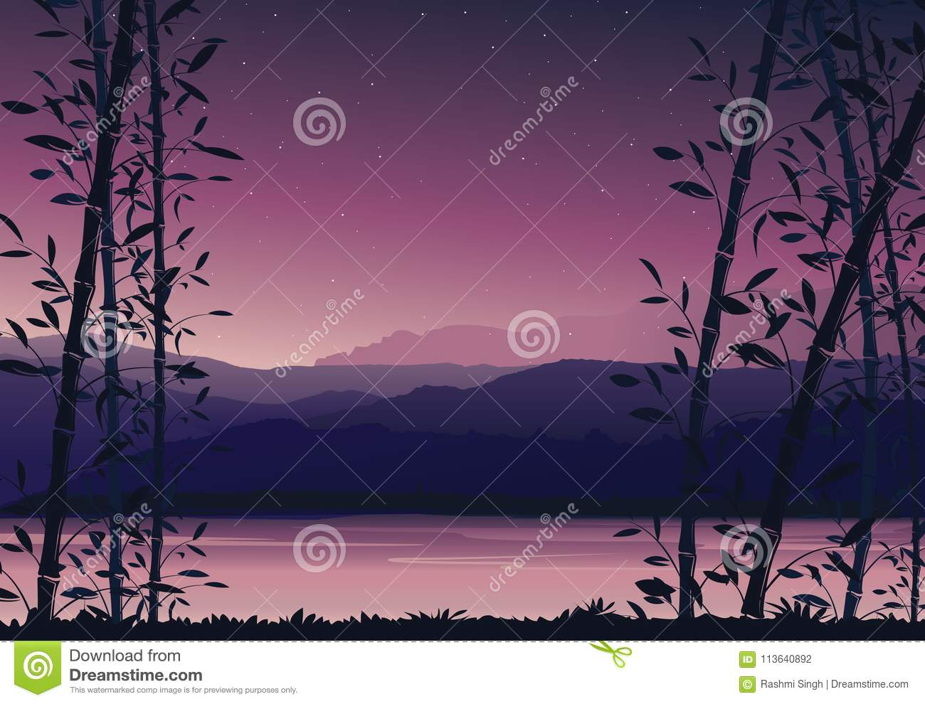 Nature Background With Bamboo Colorful Sunset Scenery Landscape Wallpaper