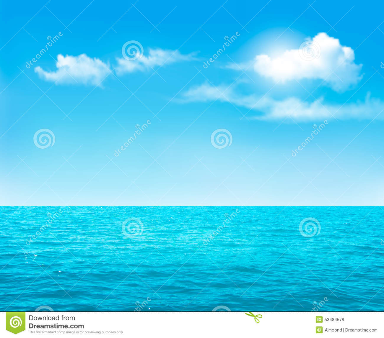Nature Background Blue Ocean And Blue Cloudy Sky Stock