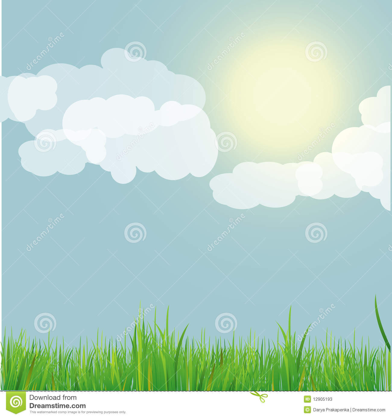 Nature Background With Blue Sky . Vector Illustrat Stock ...