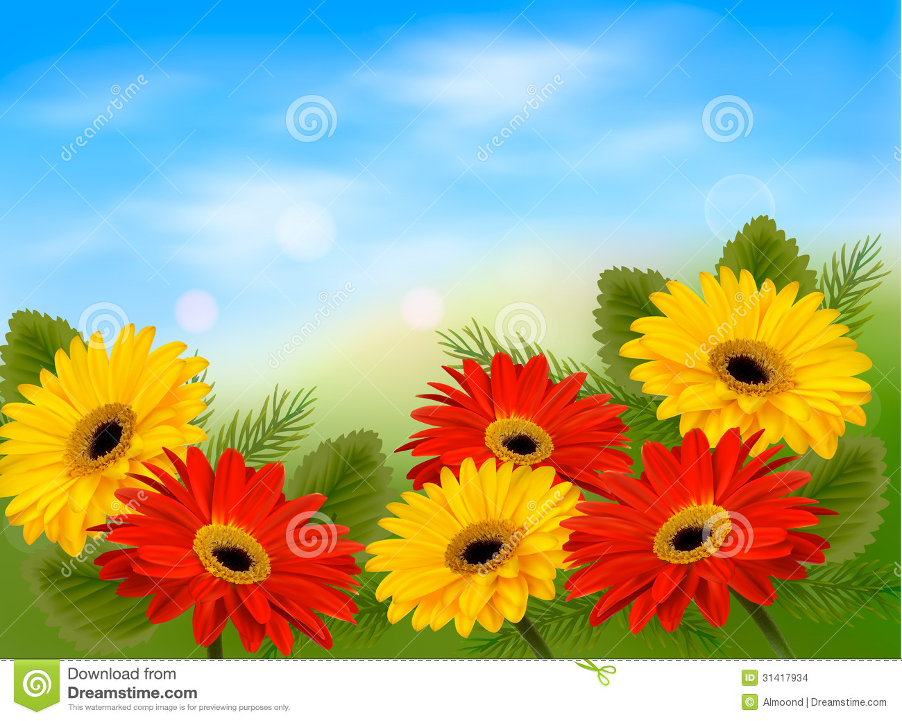 Nature Background With Colorful Beautiful Flowers. Royalty Free ...